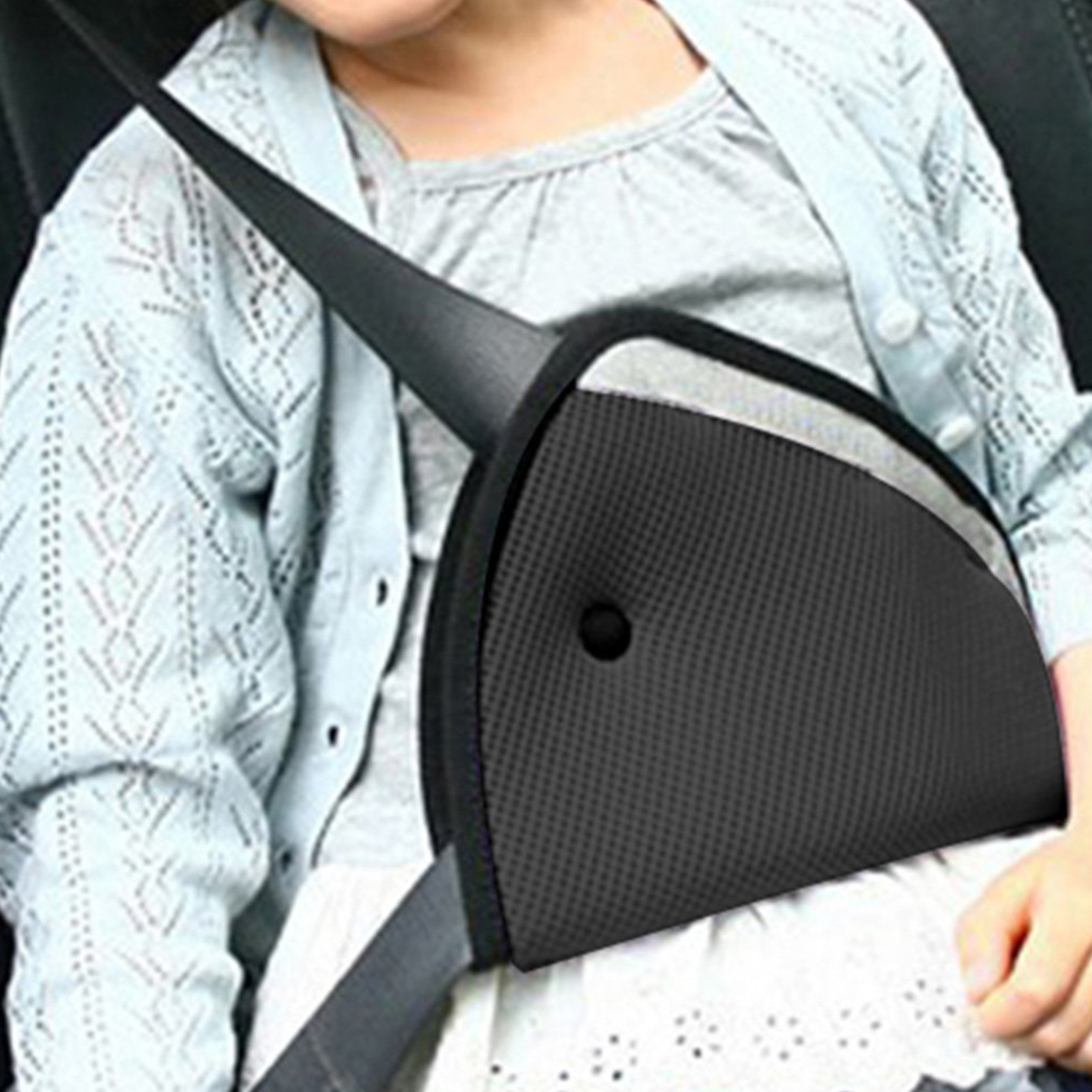 Children Kids Safety Triangle Car Seat Belts Fixator Adjuster Protect Shoulder Head Protection Cover Strap Grey