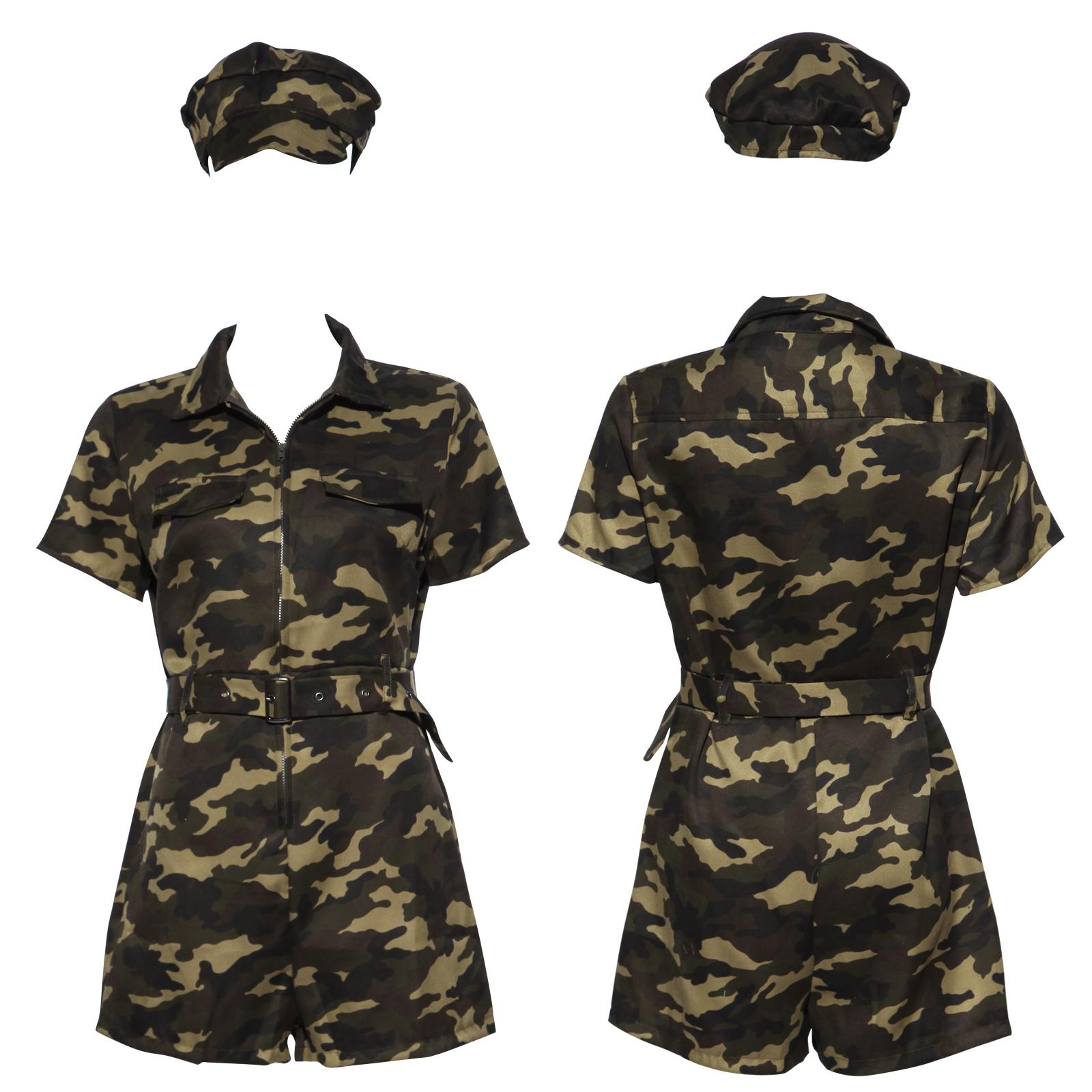 Soldatin Tarnmuster Militär Armee Army Military Kostüm Damen Uniform