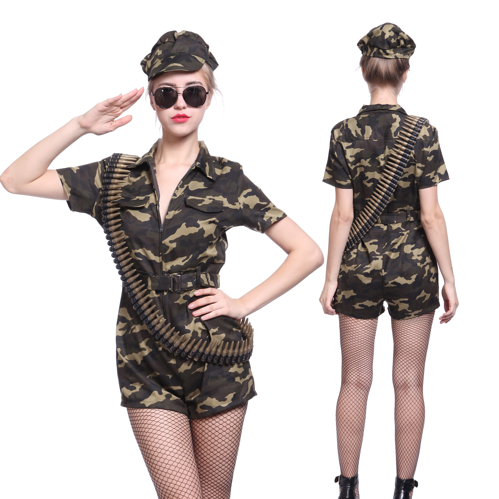 078cc0ac73e Details about Army Girl Ladies Outfit Soldier Fancy Camo Costume Combat  Military Commando Set