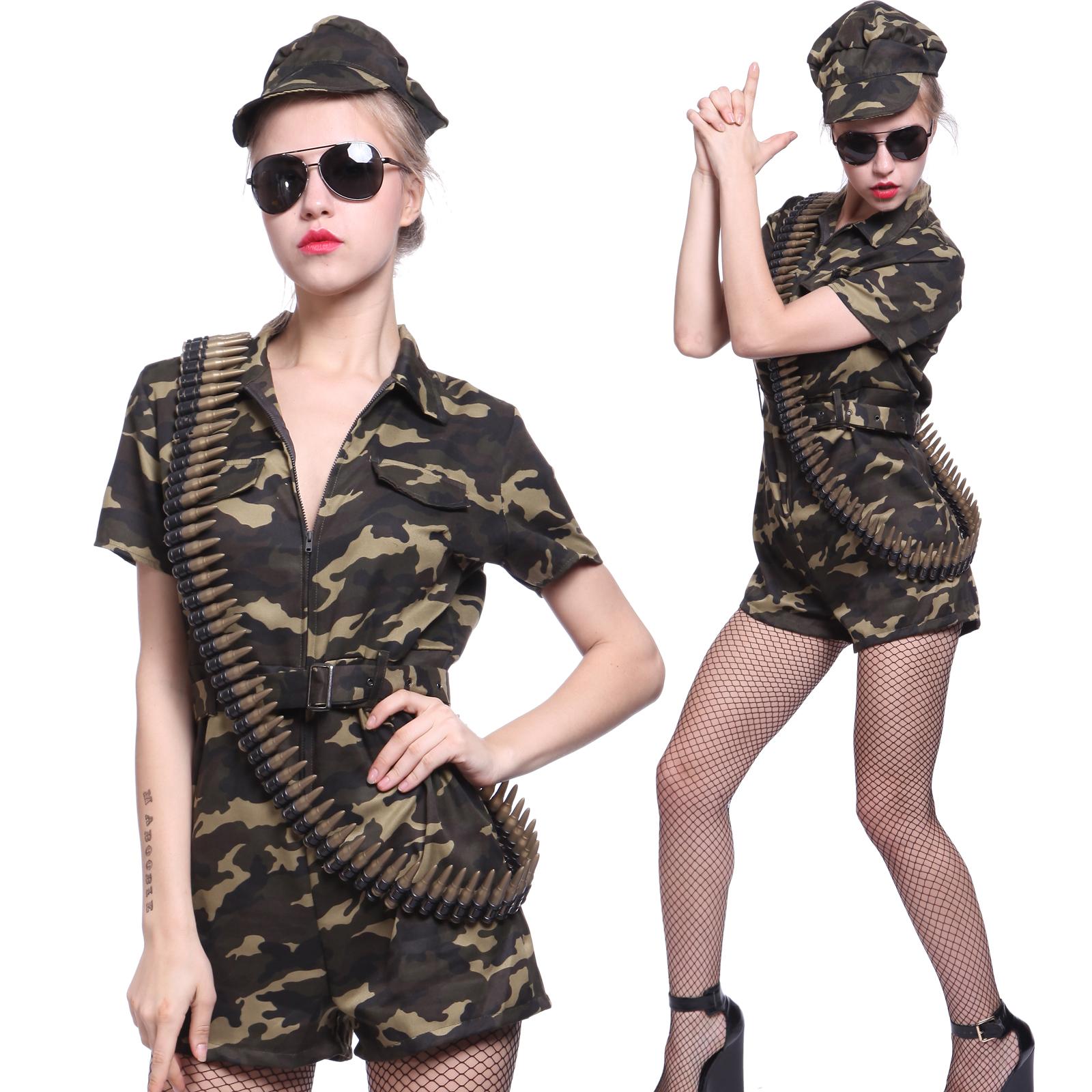 28713c03dd2 Details about Lady Army Girl Costume Commando Soldier Camo Fancy Dress  Uniform Jumpsuit S M L