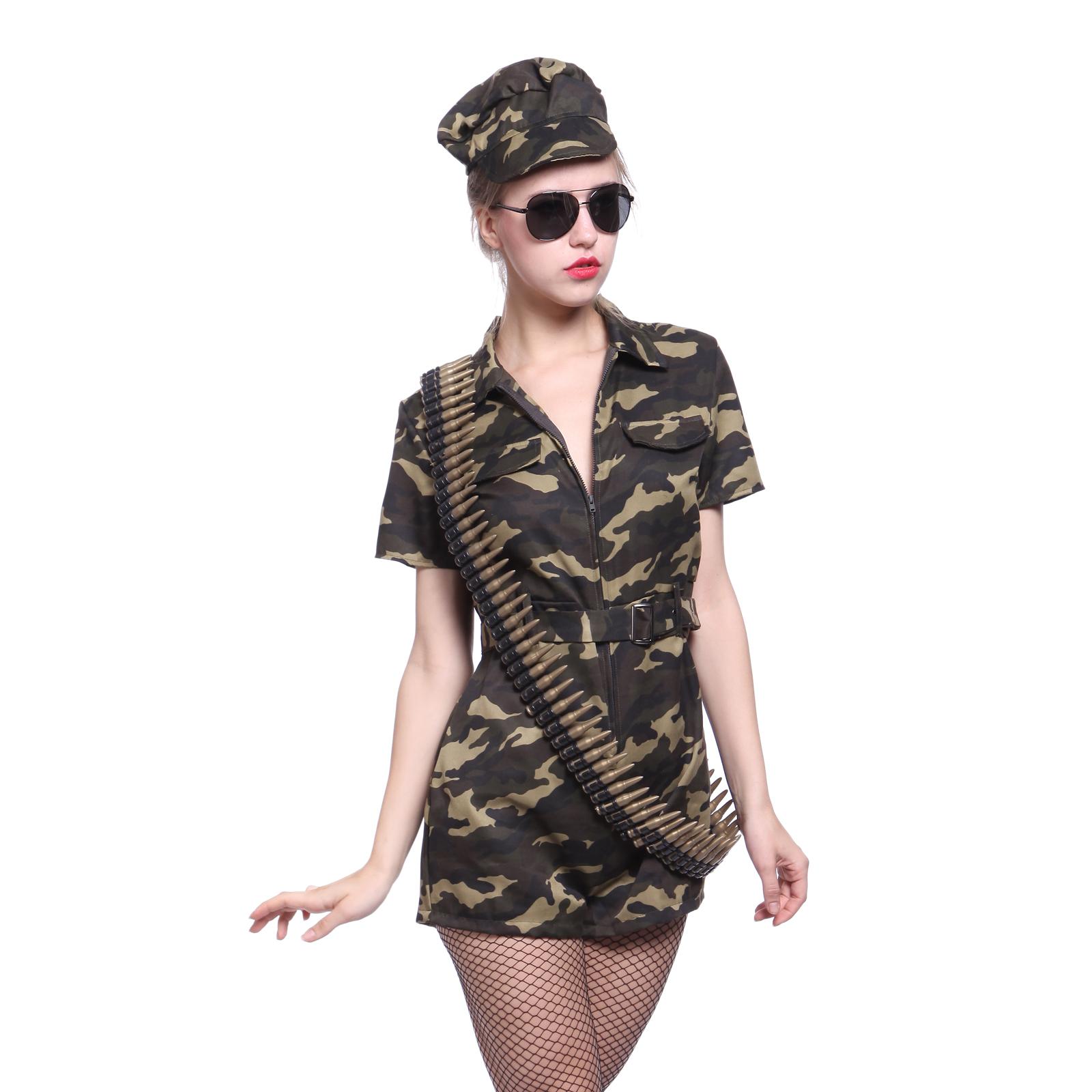 Militär Kostüm Mädchen Camouflage Army Girl Armee Soldatin Show