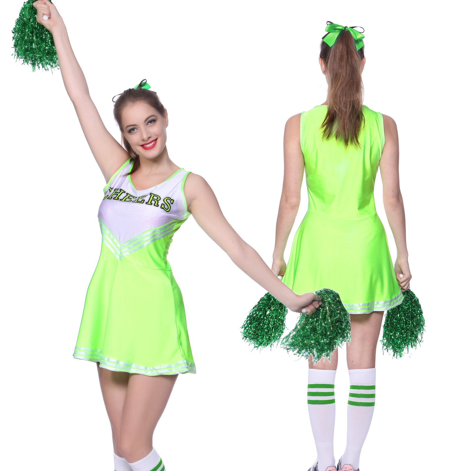 High School Girl Glee Cheerleader Uniform Cheerleading Fancy Dress w/ Pompoms | eBay  sc 1 st  eBay & High School Girl Glee Cheerleader Uniform Cheerleading Fancy Dress w ...