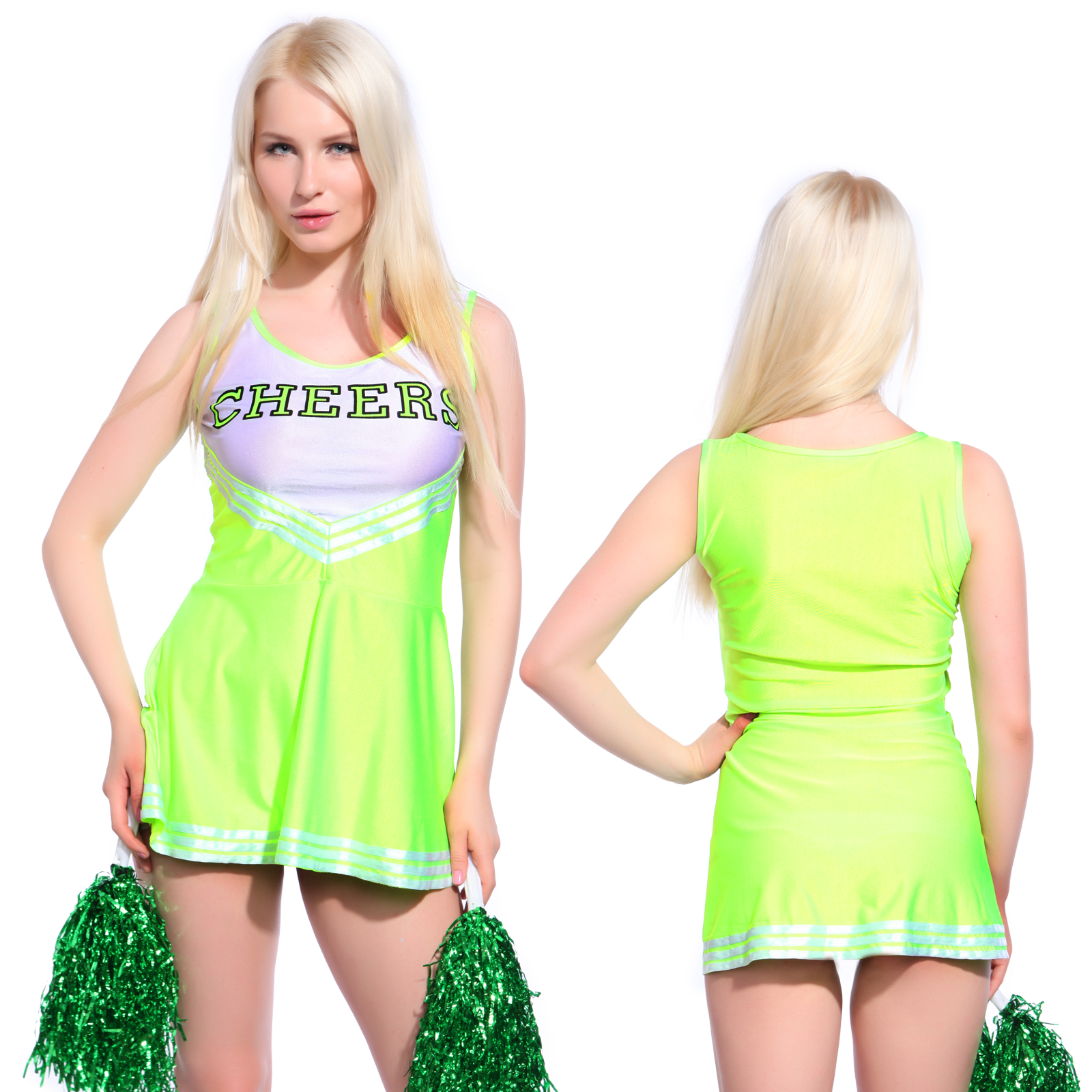 Sexy High School Cheerleader Costume Cheer Girls Uniform Party Outfit W Pompoms Ebay