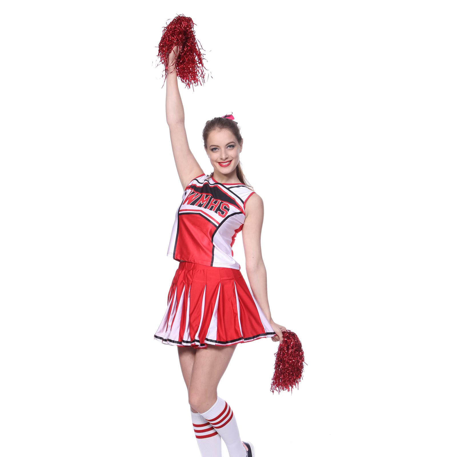 Rot-Cheerleader-Kostuem-Schoolgirl-Uniform-Cheerleading-Cheer-Leader-GOGO-XS-XXL