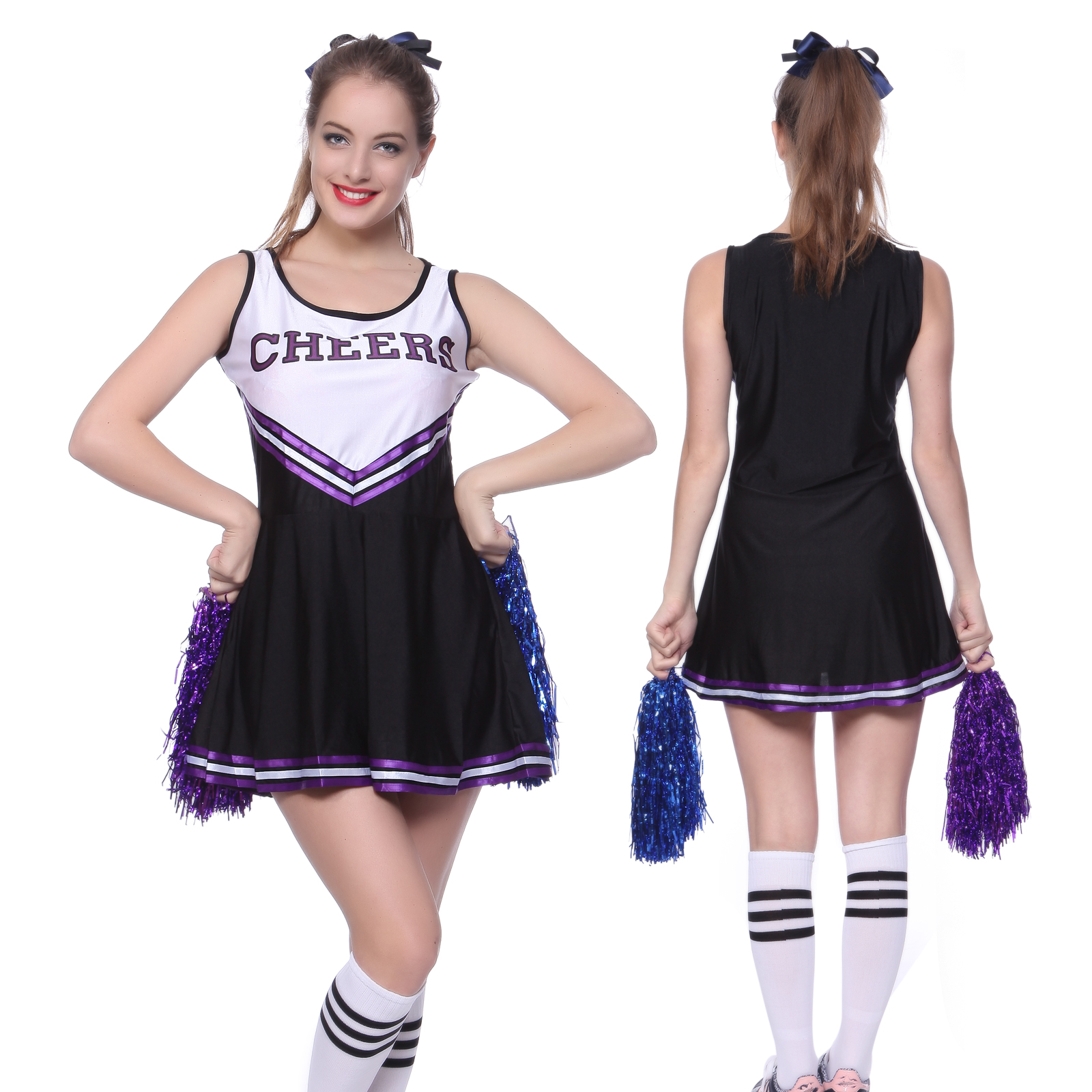 High School Musical Cheer Girl Cheerleader Uniform Costume Outfit w/ Pompoms Pro | eBay