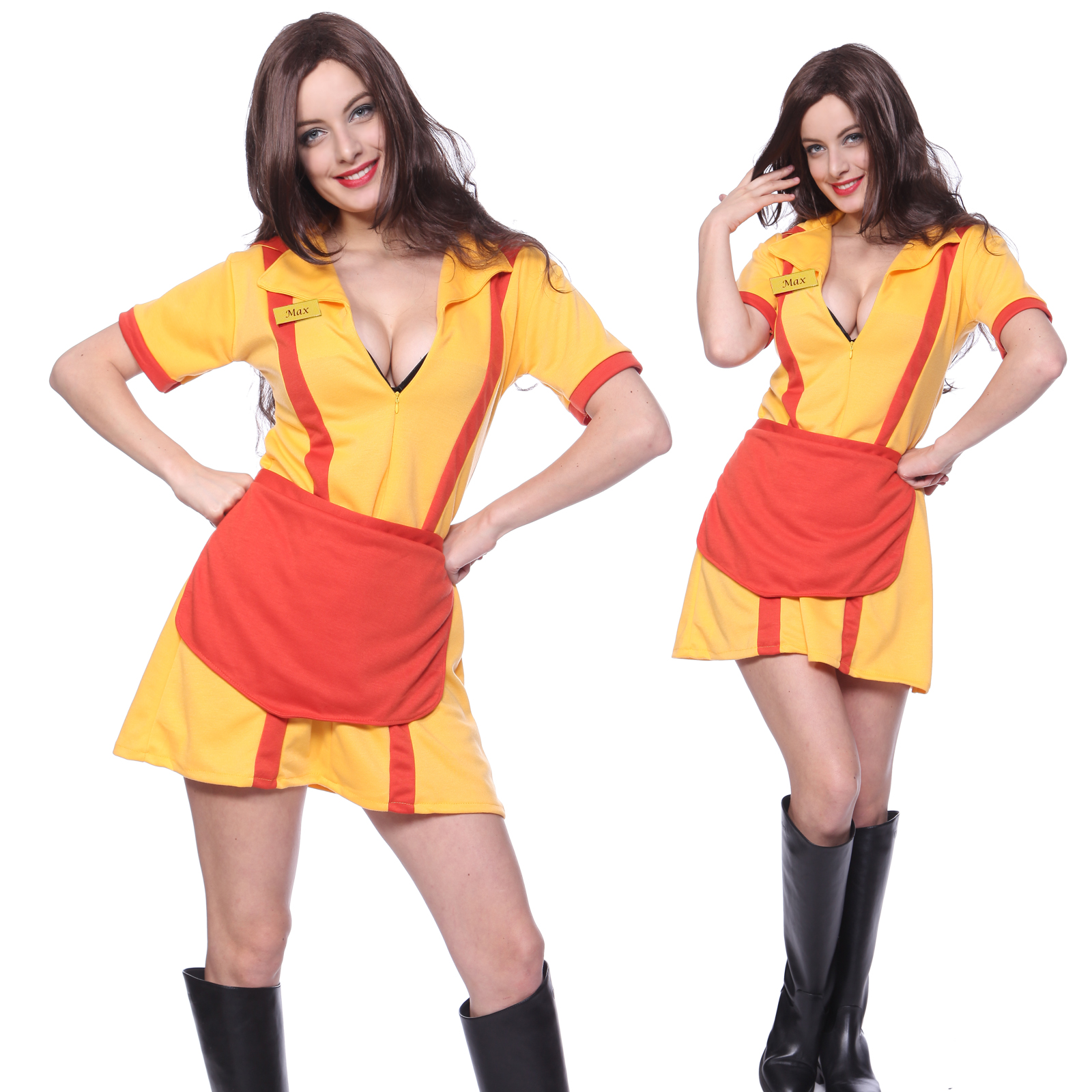 2 Broke Girls Tv Series Bar Waitress Halloween Fancy Dress Costume W
