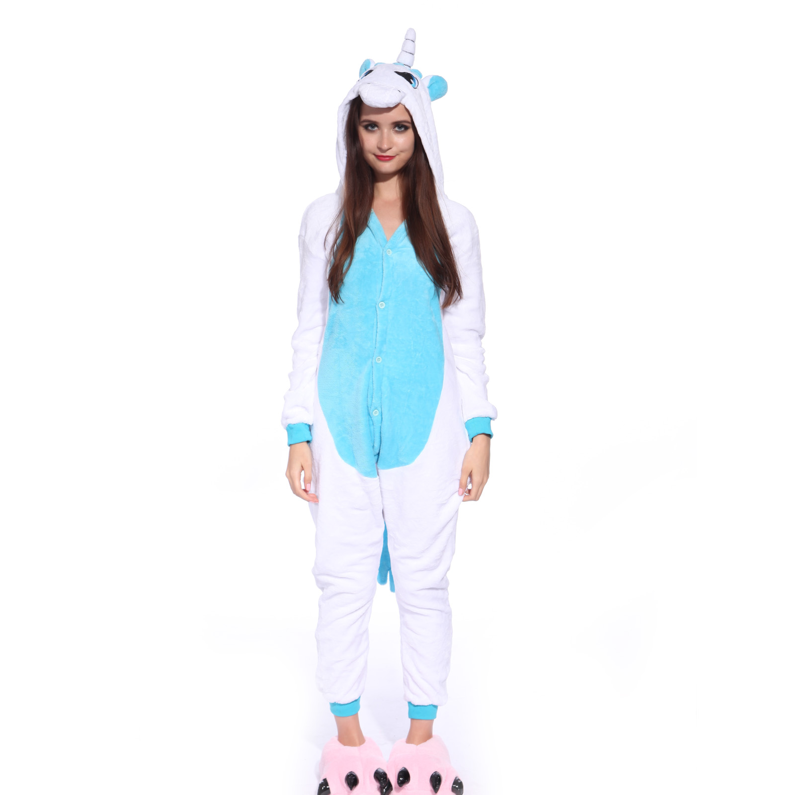 neu damen herren kost m kigurumi pyjama schlafanzug loungewear einhorn overalls ebay. Black Bedroom Furniture Sets. Home Design Ideas