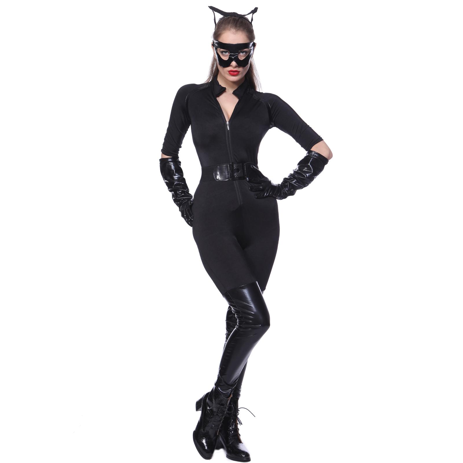 5tlg ganzk rper ganzanzug catsuit overall batman batgirl kost m damen catwomen ebay. Black Bedroom Furniture Sets. Home Design Ideas