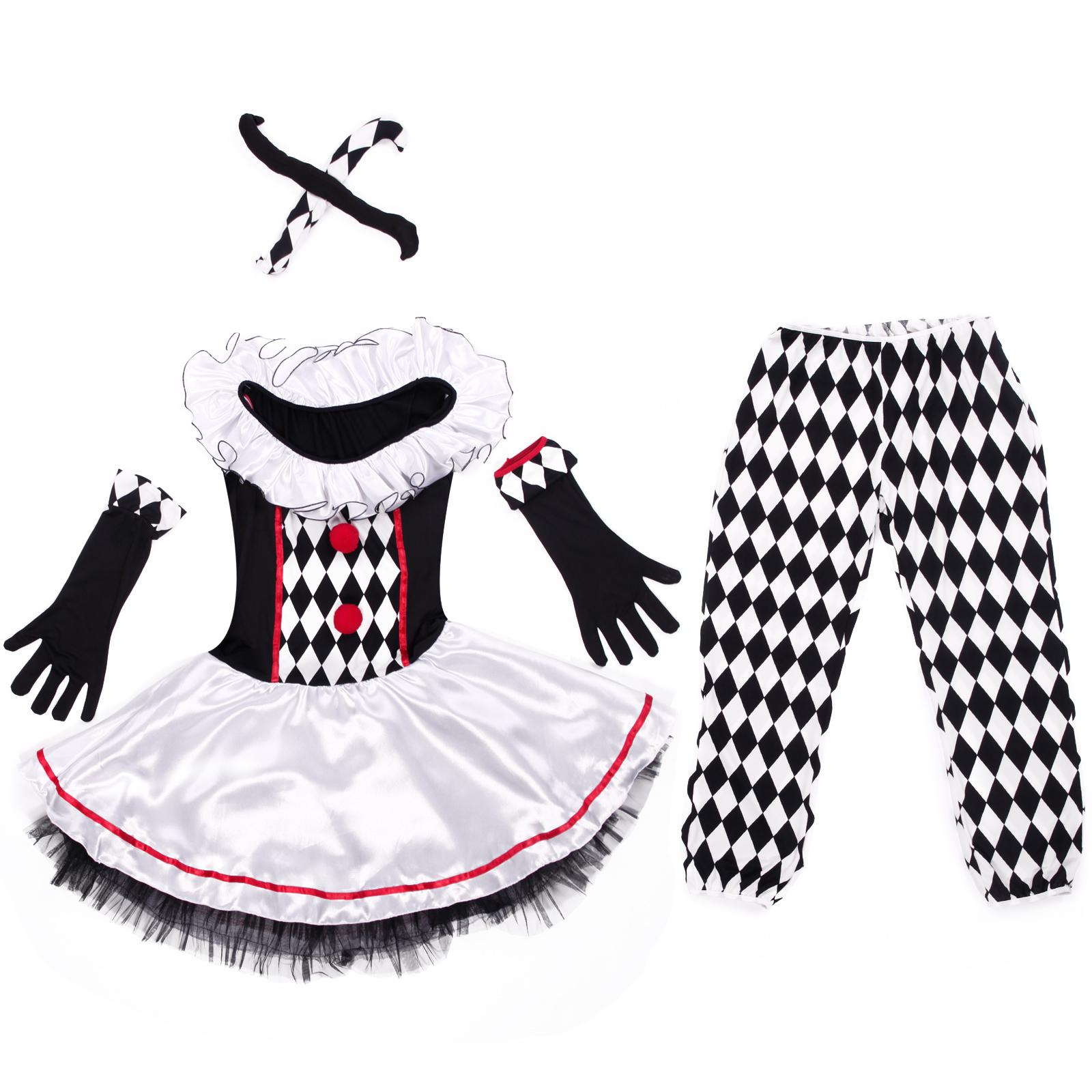 pierrot harlekin clown schwarz wei damen kost m karneval. Black Bedroom Furniture Sets. Home Design Ideas