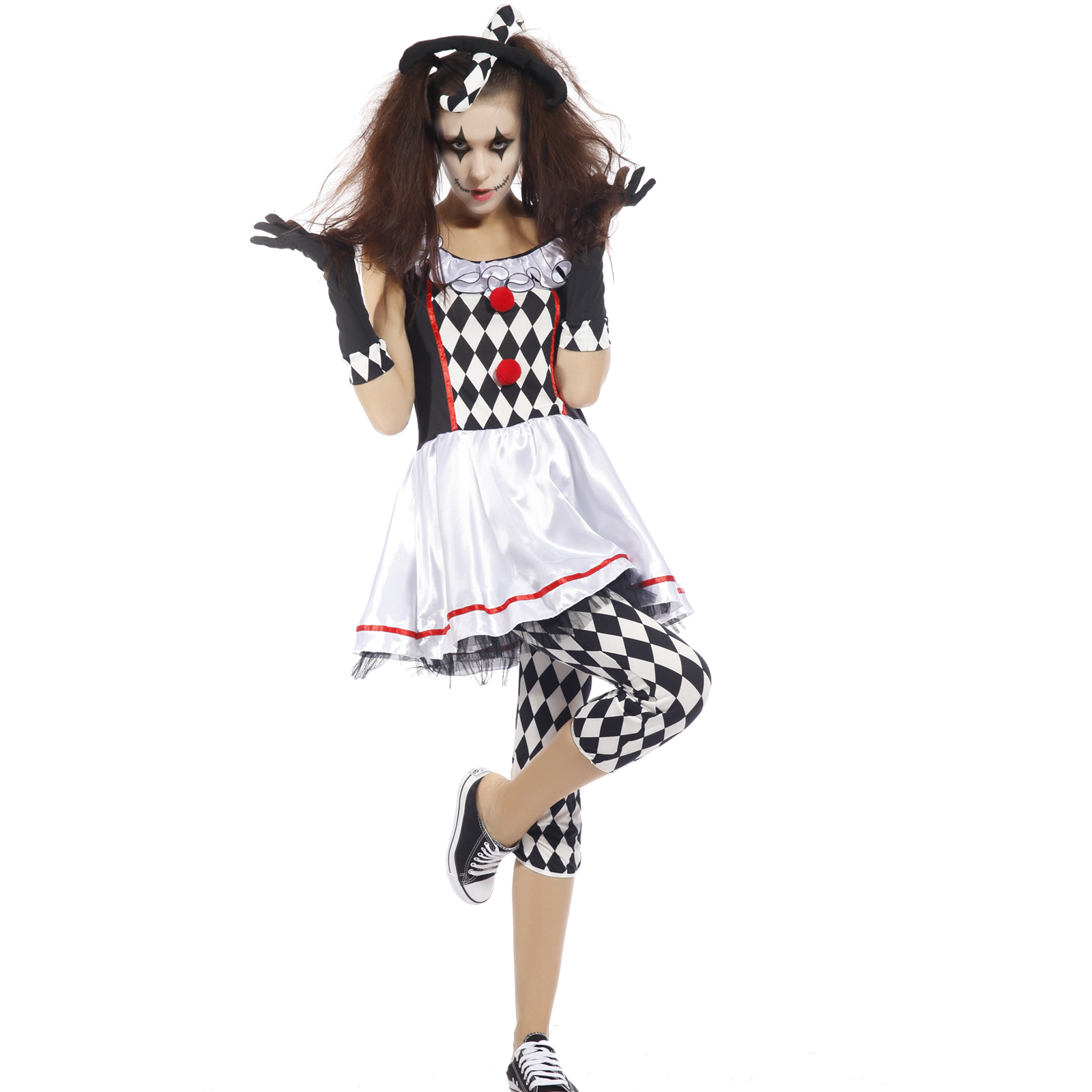 Harlequin Jester Ladies Fancy Dress Hen Night Party Circus