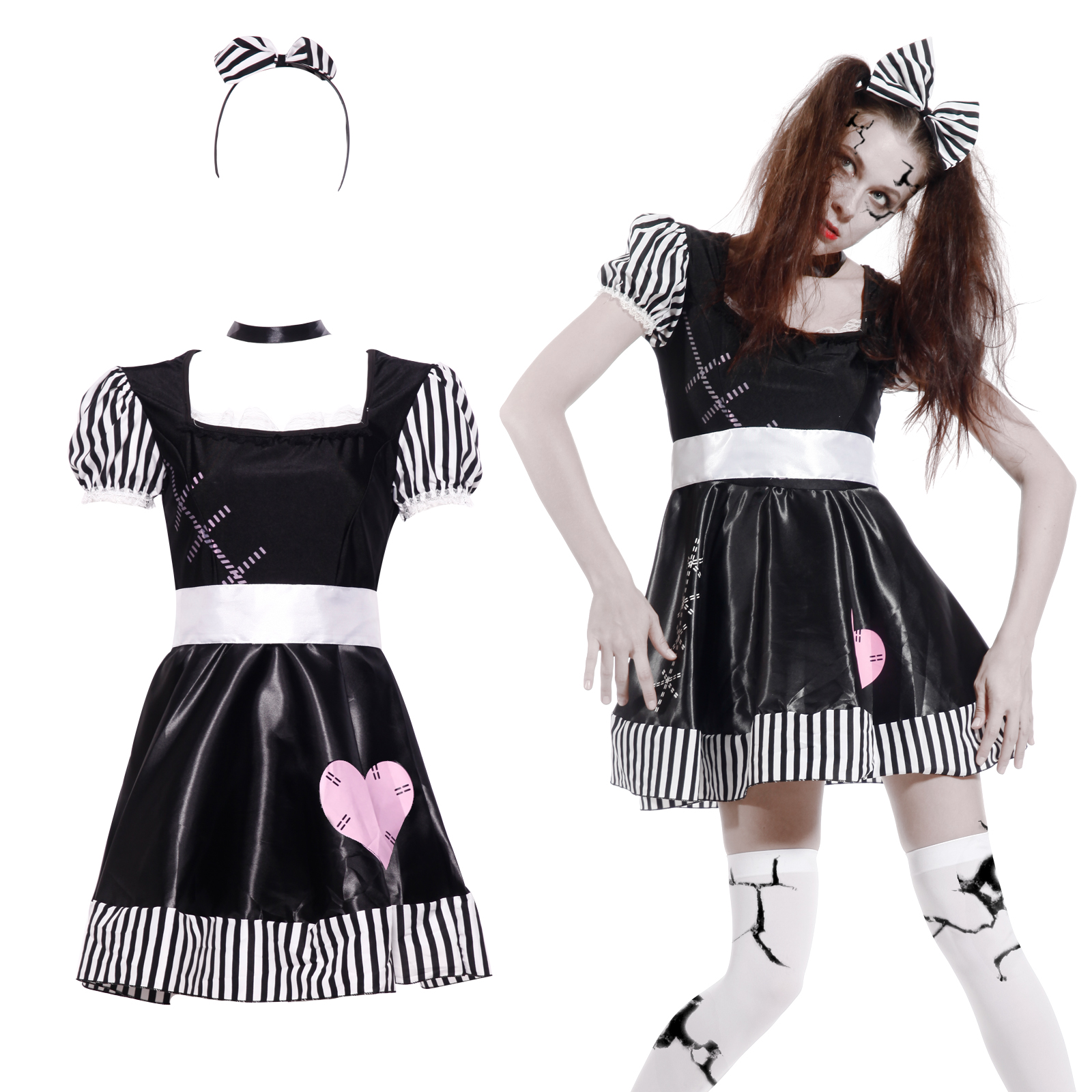 halloween zombiekleid horror zombie geister kost m puppen doll mit haargreif ebay. Black Bedroom Furniture Sets. Home Design Ideas