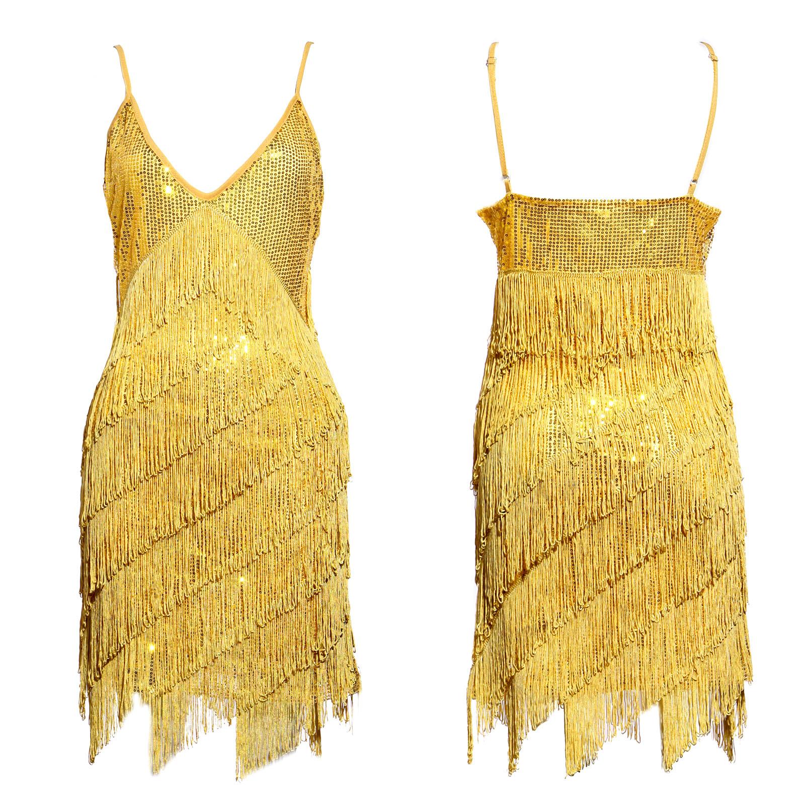 Sequin Fransen-Kleid Flapper Abendkleid Partykleid Latein Charleston ...