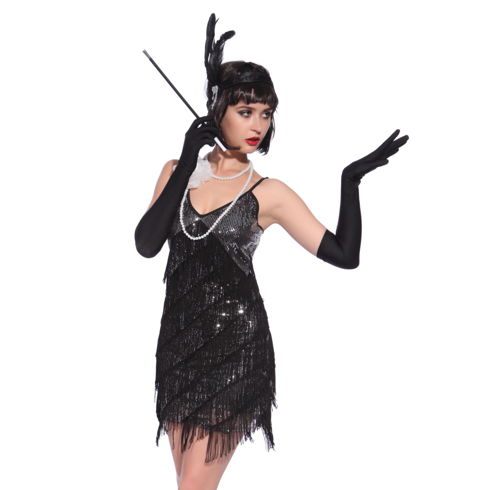 Womens 1920s flapper dress fancy dress costume adult flapper dress - Ladies Roaring 1920s Charleston Flapper Chicago Gatsby Fancy Dress Party Costume