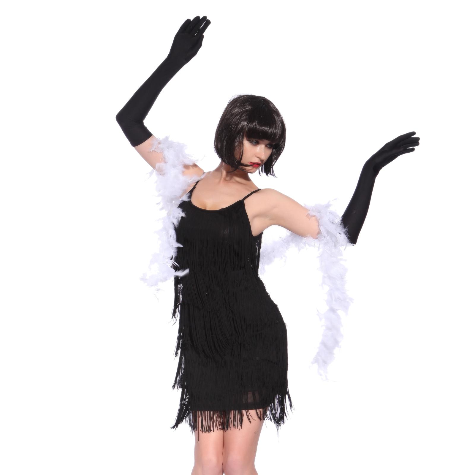 20er jahre lang fransen kleid flapper damen charleston kost m party abendkleid ebay. Black Bedroom Furniture Sets. Home Design Ideas