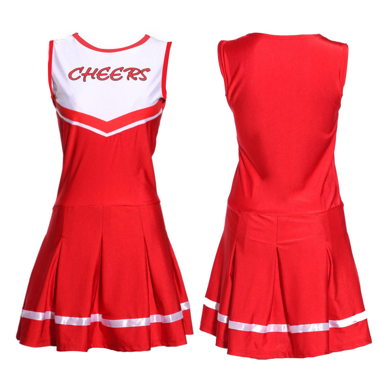 Carnevale Cheerleader Costume + pom poms High School Stile Rosso   Bianco 8216e3603f9