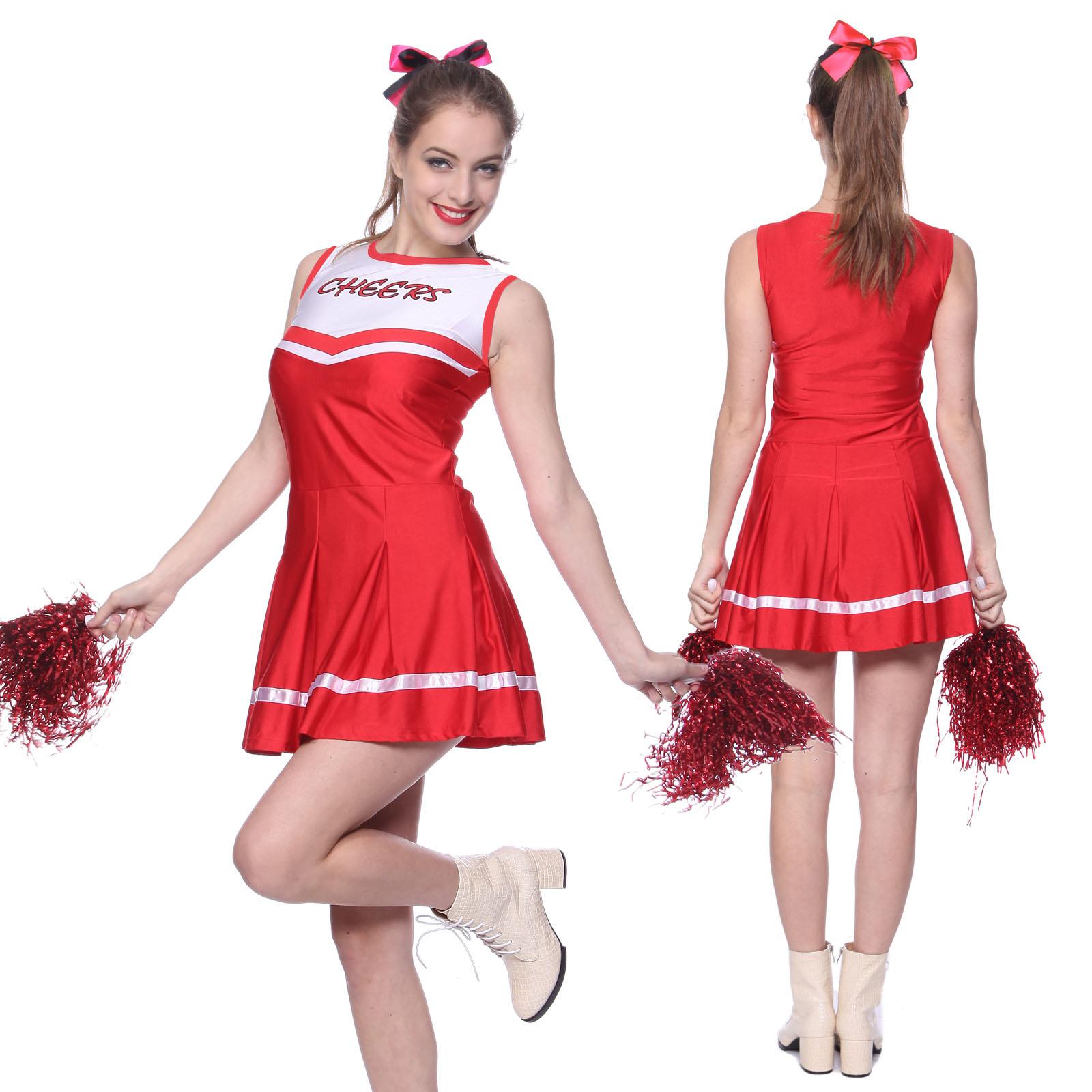 Womens High School Glee Sports Cheerleading Costume Cheerleader Fancy Dress