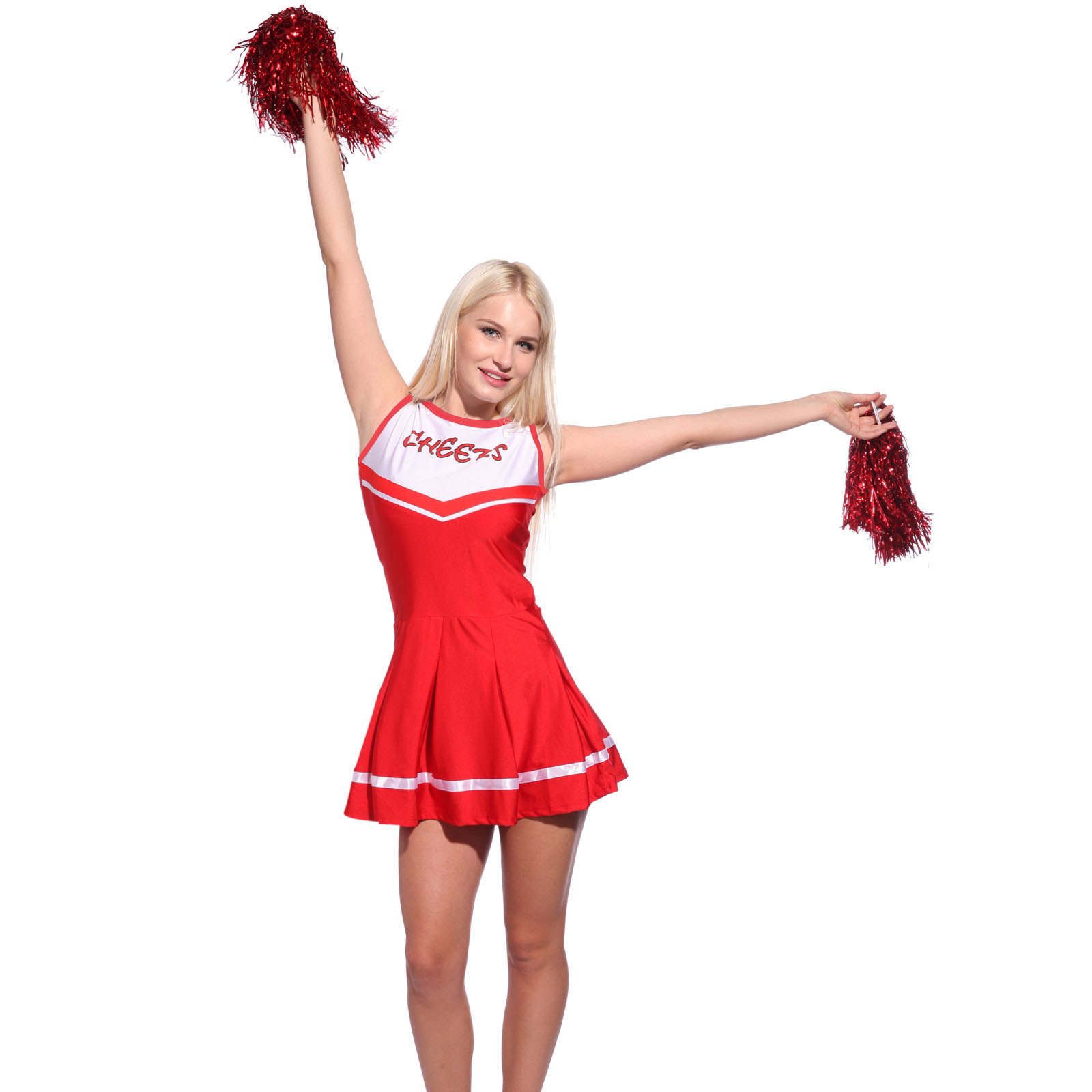 Details about Ladies High School Girl Glee Cheerleader Outfit Fancy Dress  Uniform w  Pompoms 773c58f86