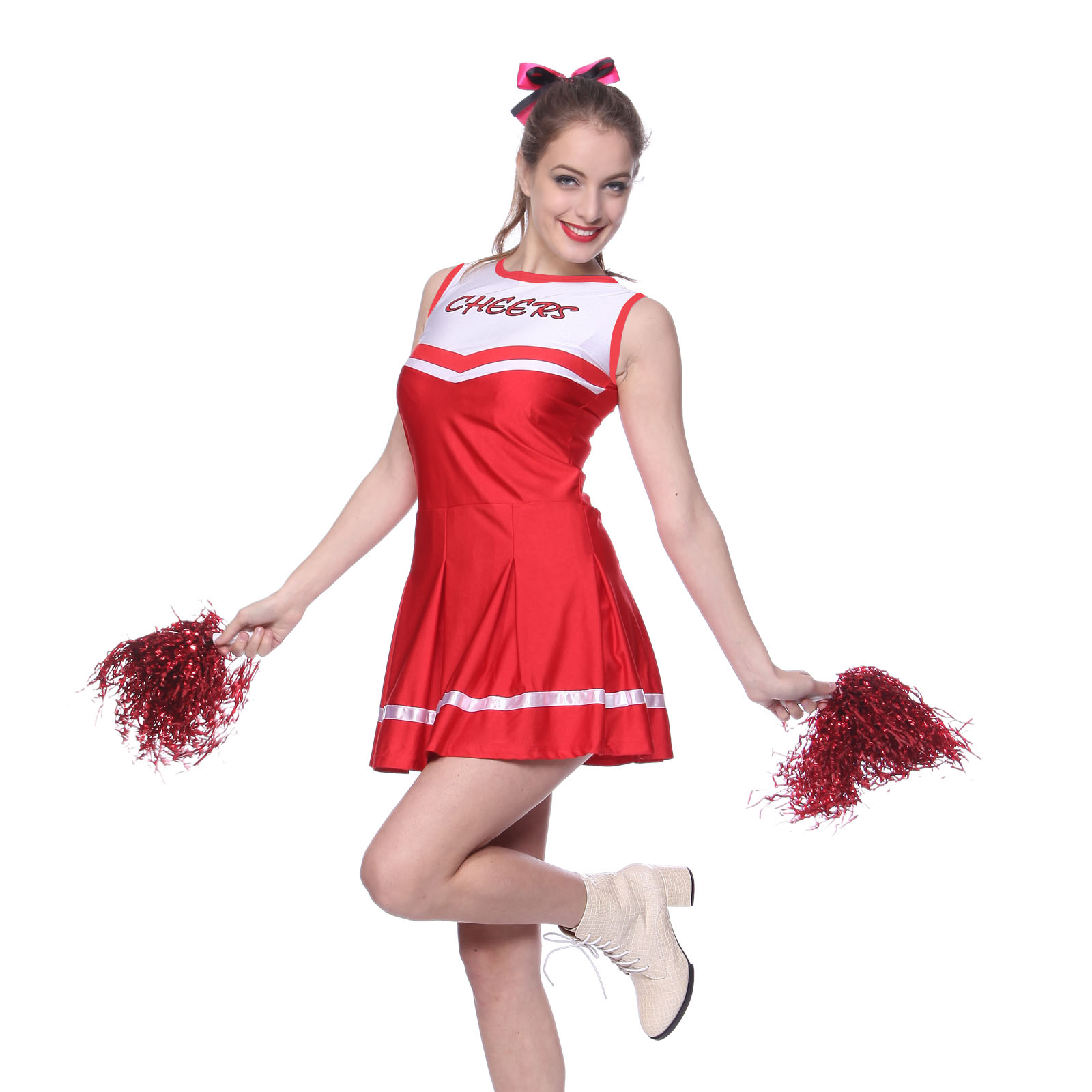 Cheerleader Fancy Dress Outfit High School Uniform Musical Costume + Pompoms | eBay