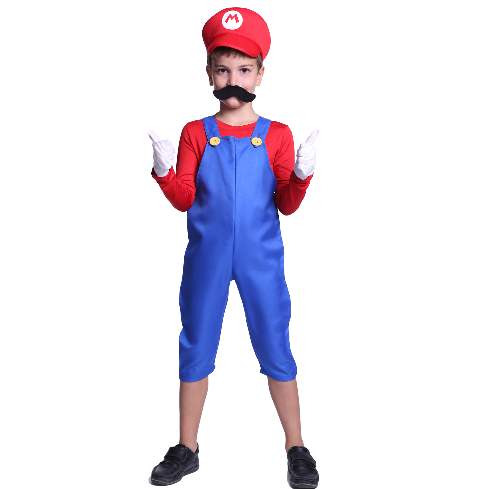 New Kids Super Mario Costume Teen Boys Clothes Fancy Dress Party Moustache Hat  sc 1 st  eBay & New Kids Super Mario Costume Teen Boys Clothes Fancy Dress Party ...