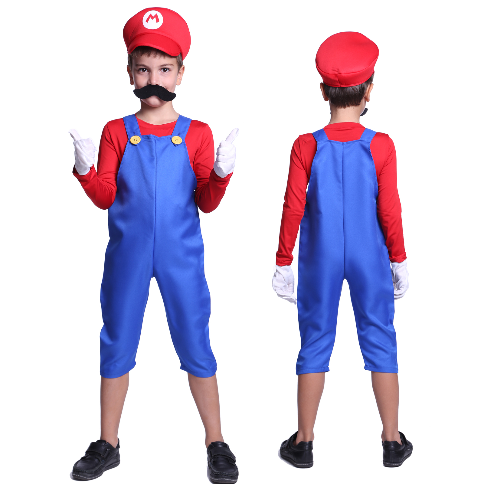 new kids super mario costume teen boys clothes fancy dress party moustache hat ebay. Black Bedroom Furniture Sets. Home Design Ideas