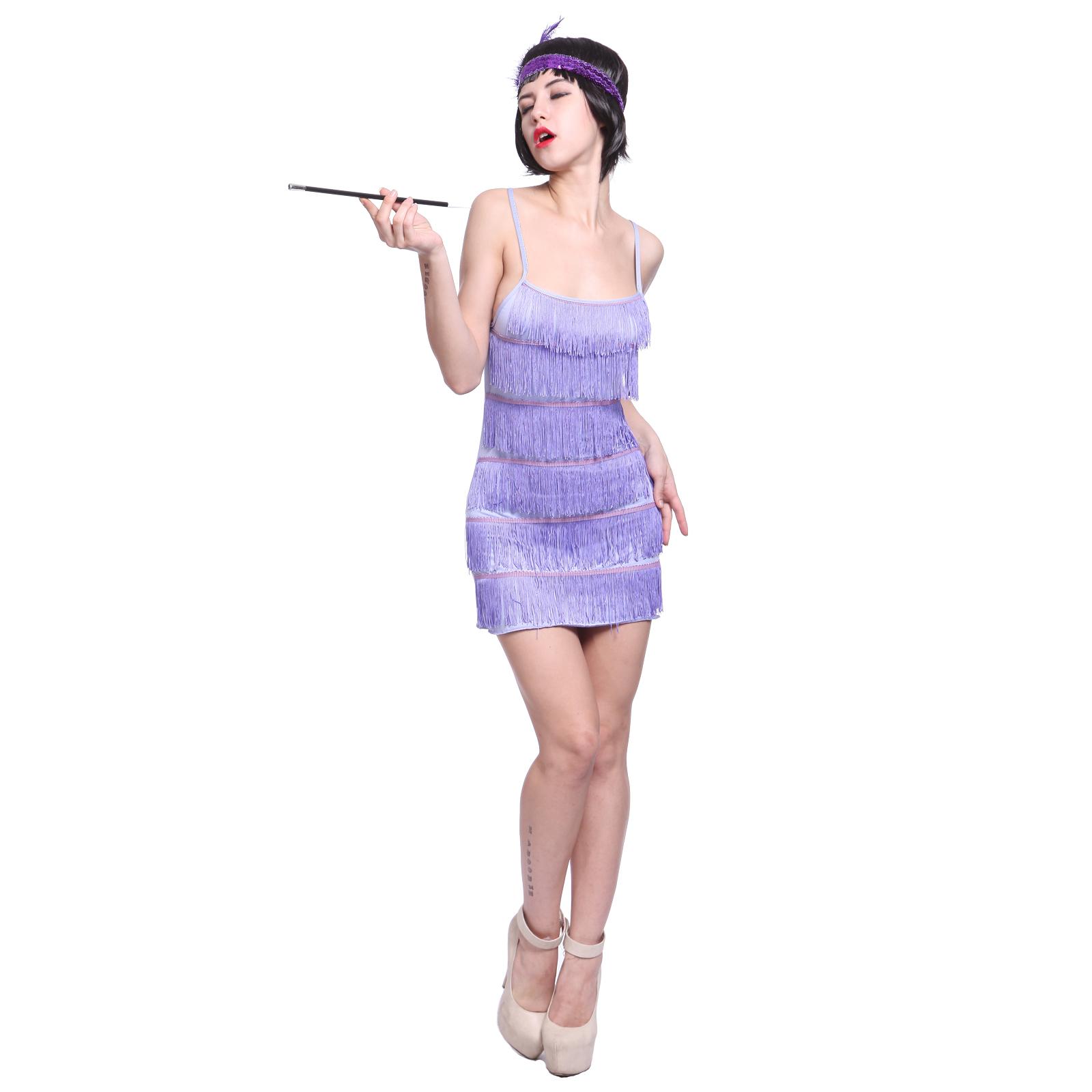 Ladies Girls 6 Tier Charleston Flapper Tube Dress Fringe