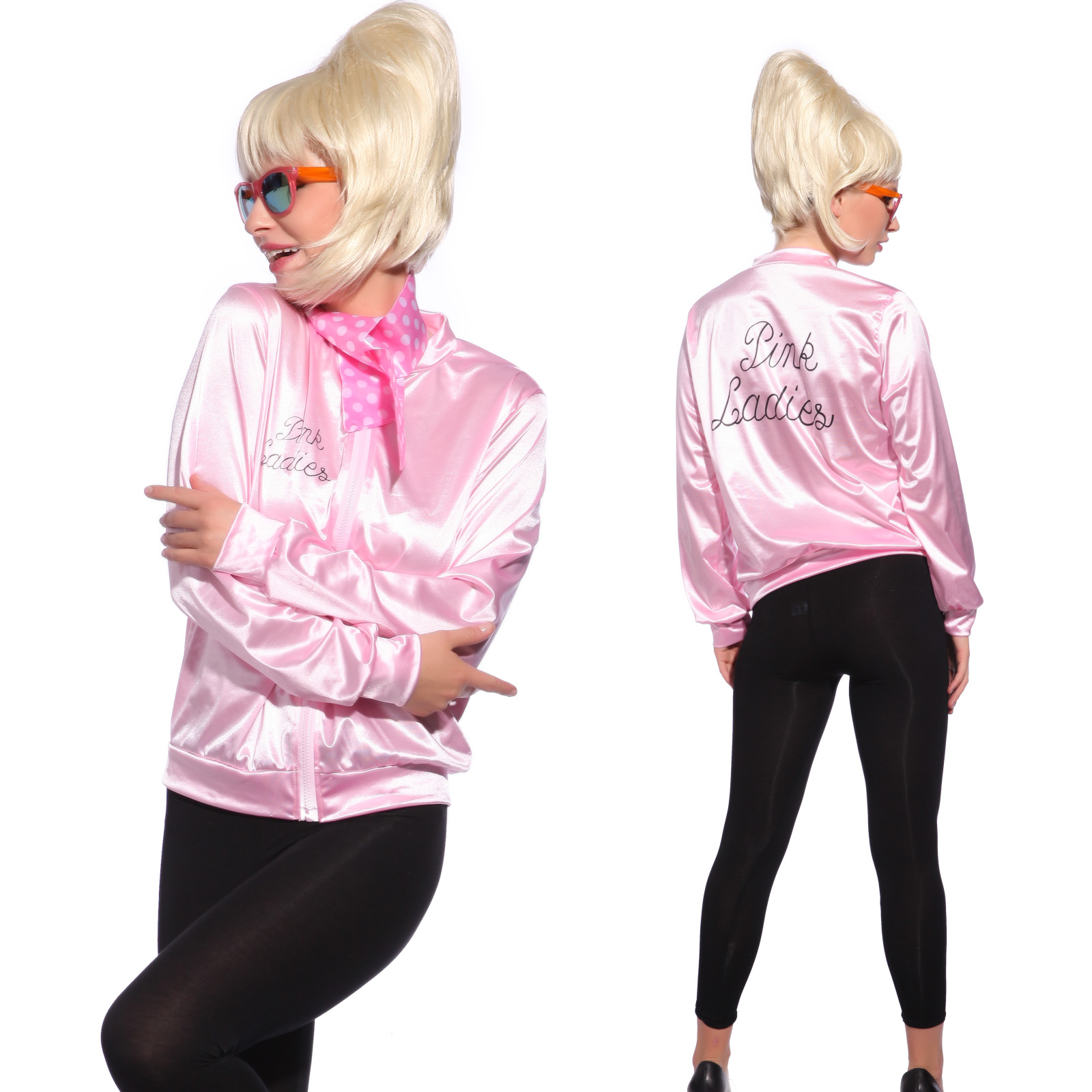 50s Grease Pink Lady Ladies Jacket Top T-shirt Fancy Dress ...