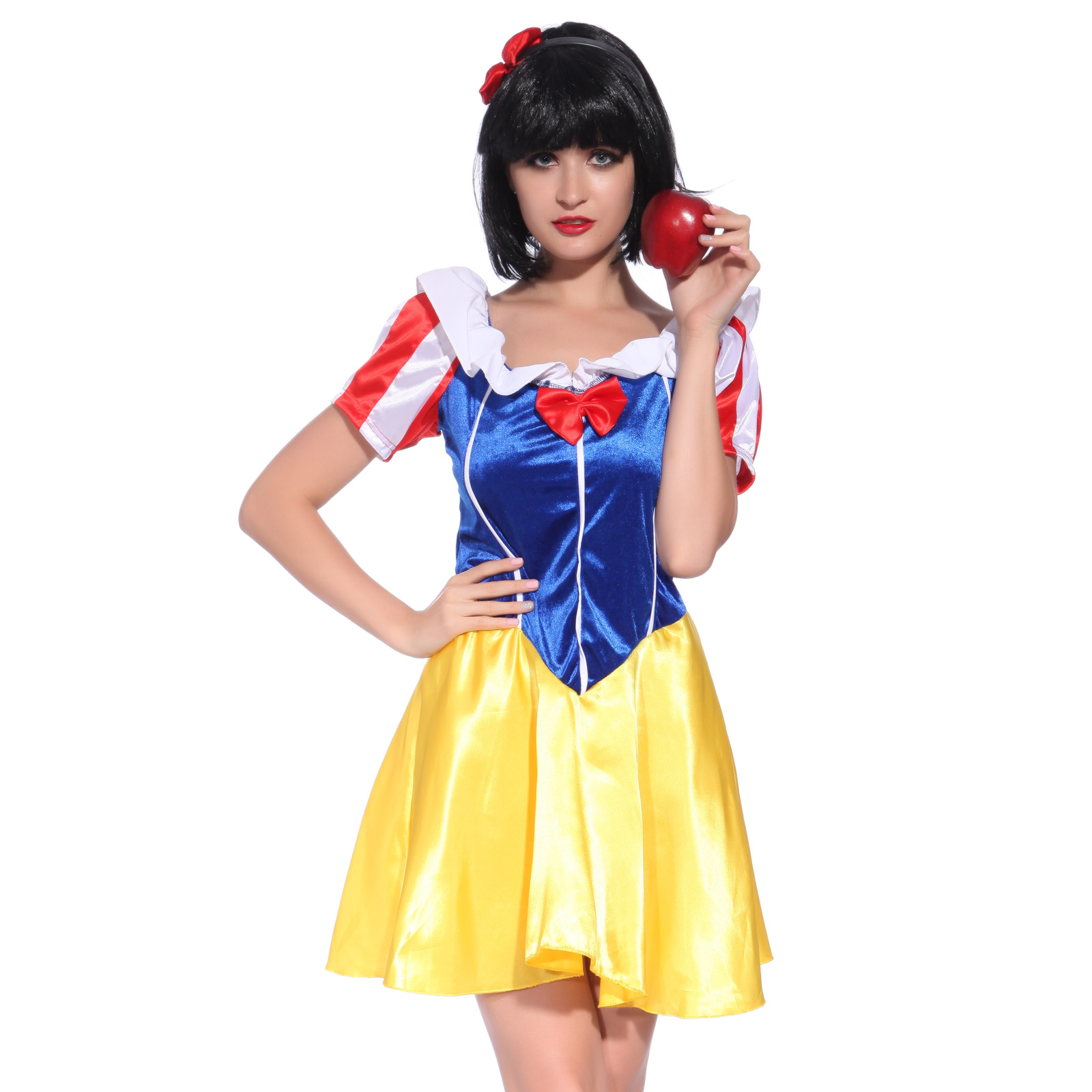 ladies fairytale snow white costume storybook princess fancy dress outfit ebay. Black Bedroom Furniture Sets. Home Design Ideas
