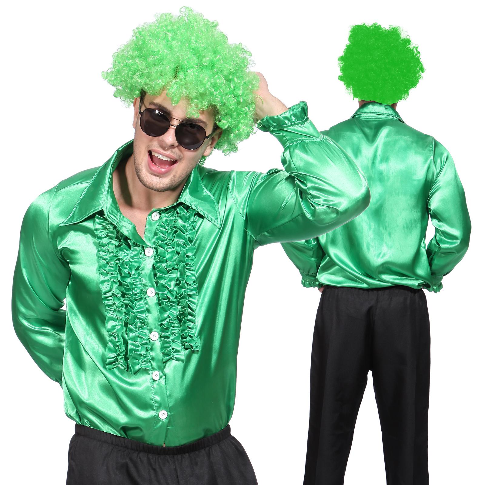 Gents 70s Disco Night Stag Party Metallic Ruffle Shirt Dance Fancy ...