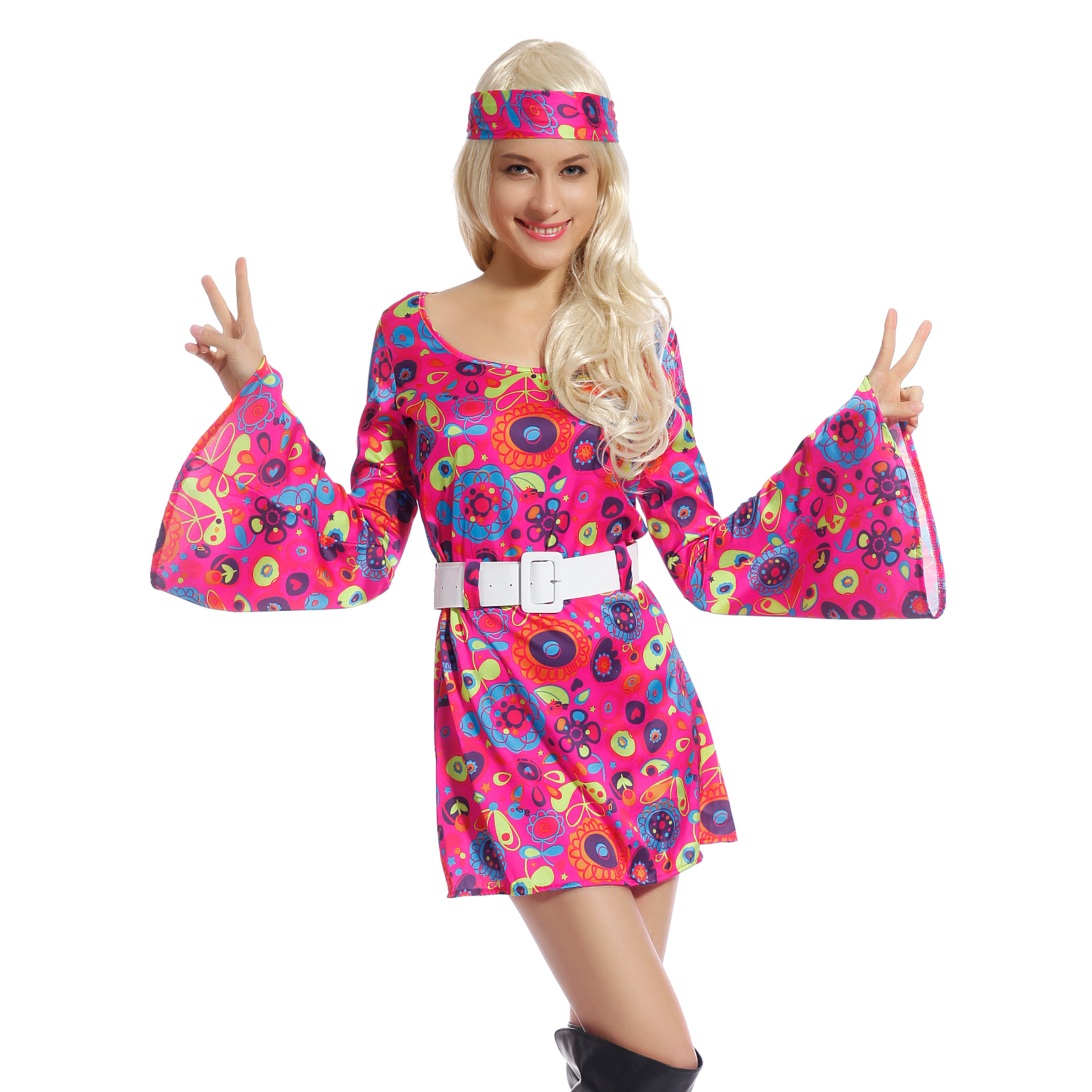 60s 70s Fancy Dress Costume Flower Power HIPPY HIPPIE RETRO GOGO PARTY | eBay