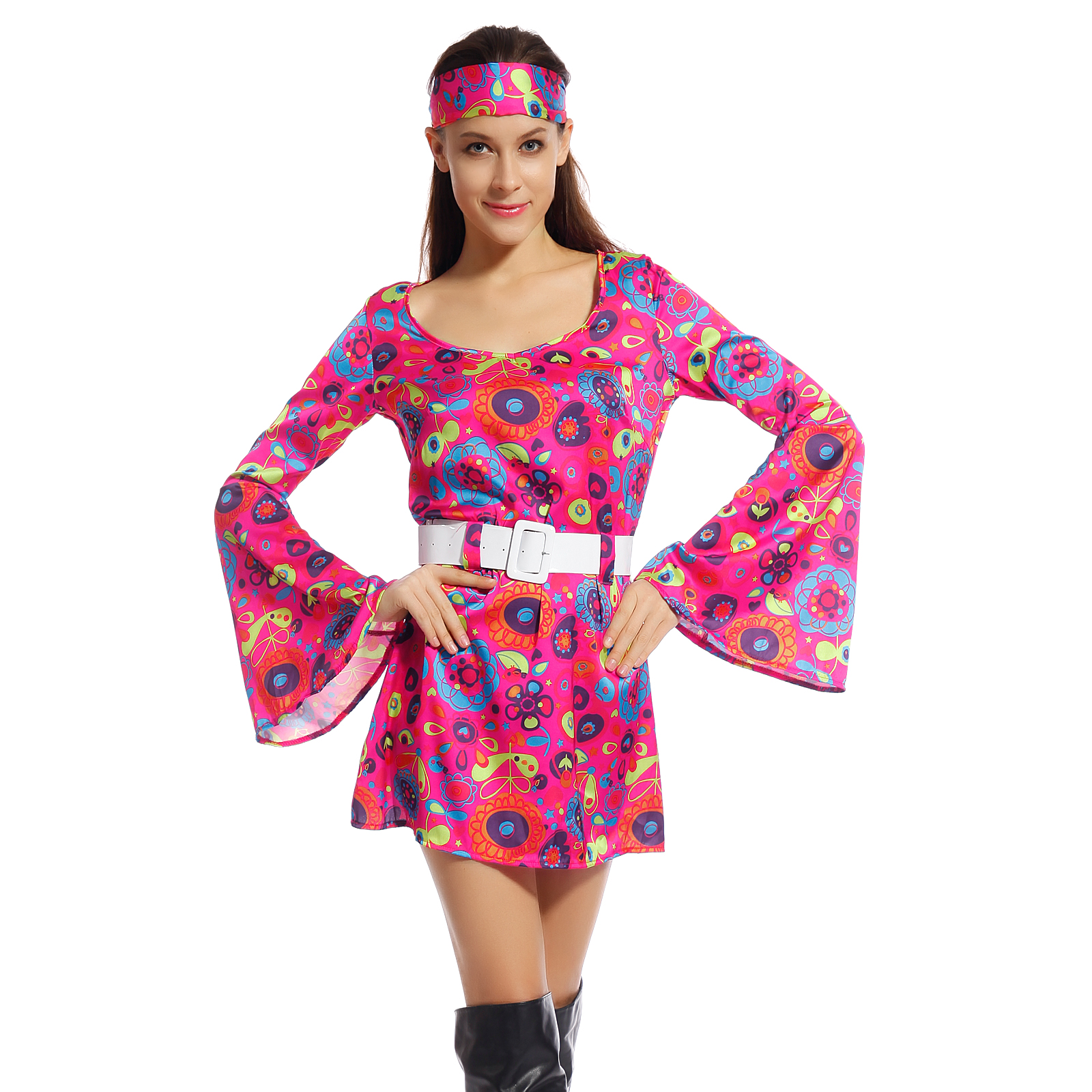 retro flower go go dress groovy hippie girl fancy dress 60s 70s hippy costume ebay. Black Bedroom Furniture Sets. Home Design Ideas