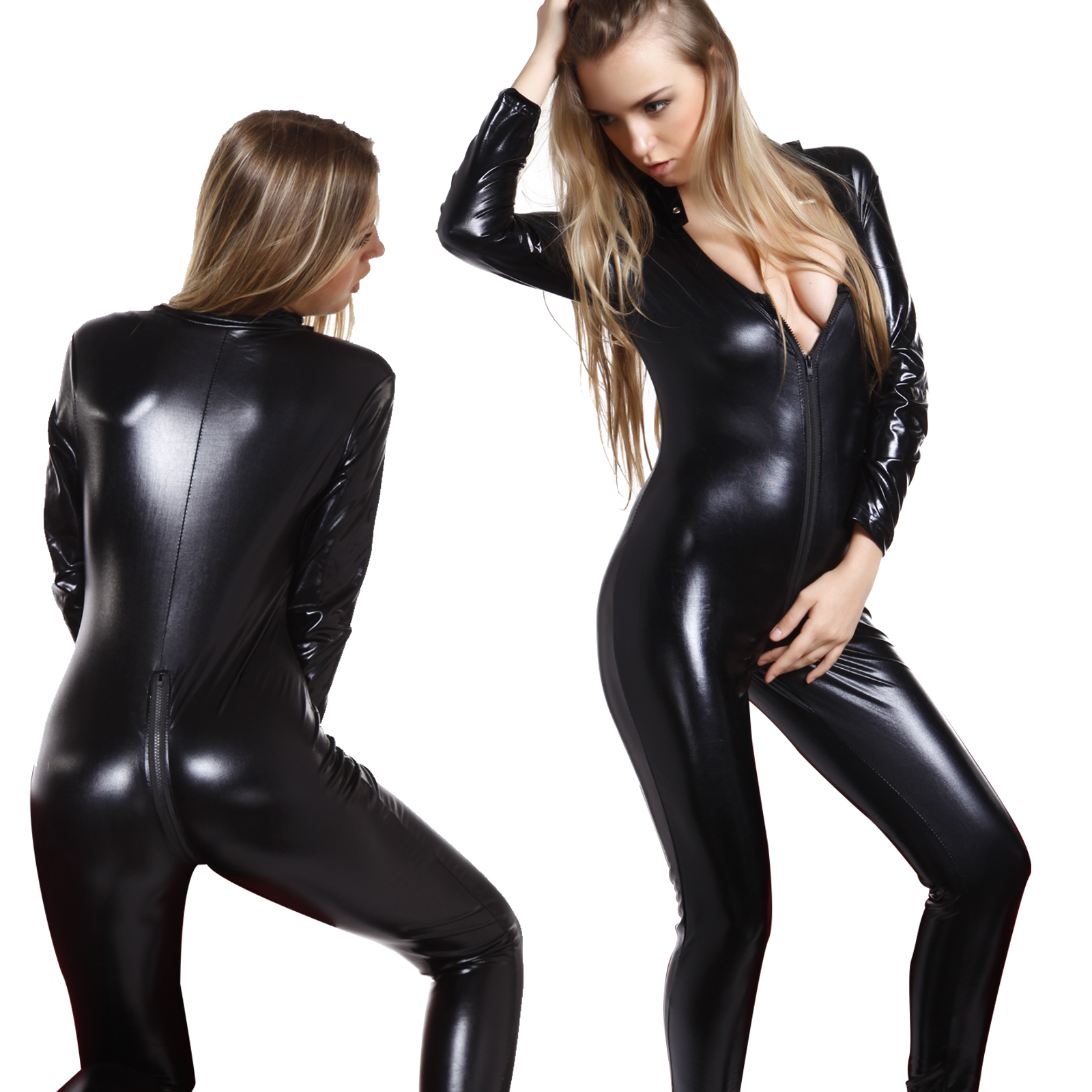 07655d31bd Details about Sexy Ladies Black Faux Leather Wet Look Catsuit Bodysuit  Catwoman Cat Costume