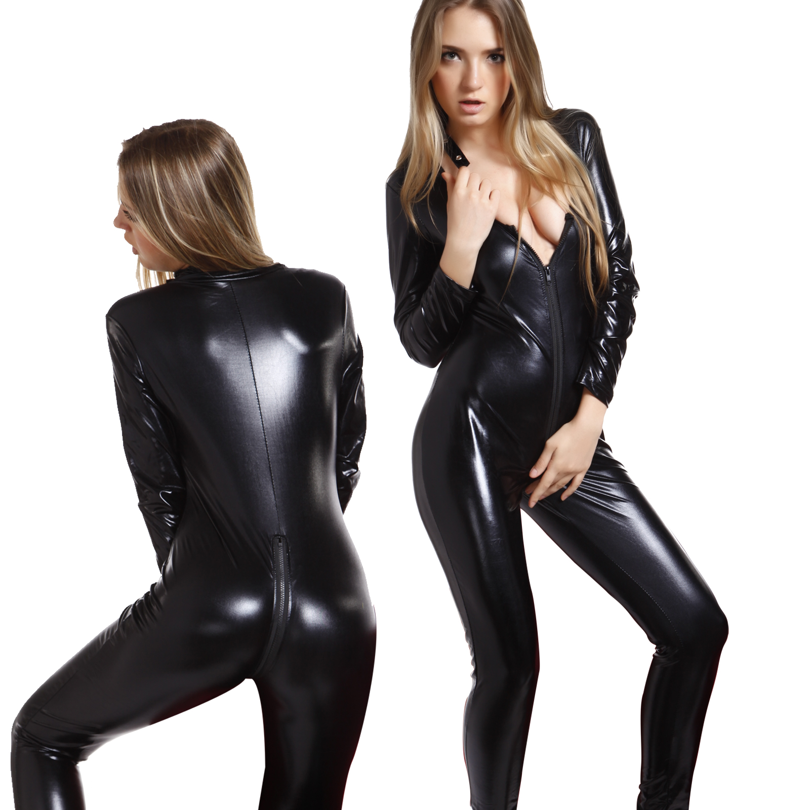 The Deep V Vinyl Catsuit is the top of fetish fashion. You will feel sexy in this PVC Catsuit. The Deep V Vinyl Catsuit and a silver front zipper for easy in and out and to contrast the shiny patent leather.