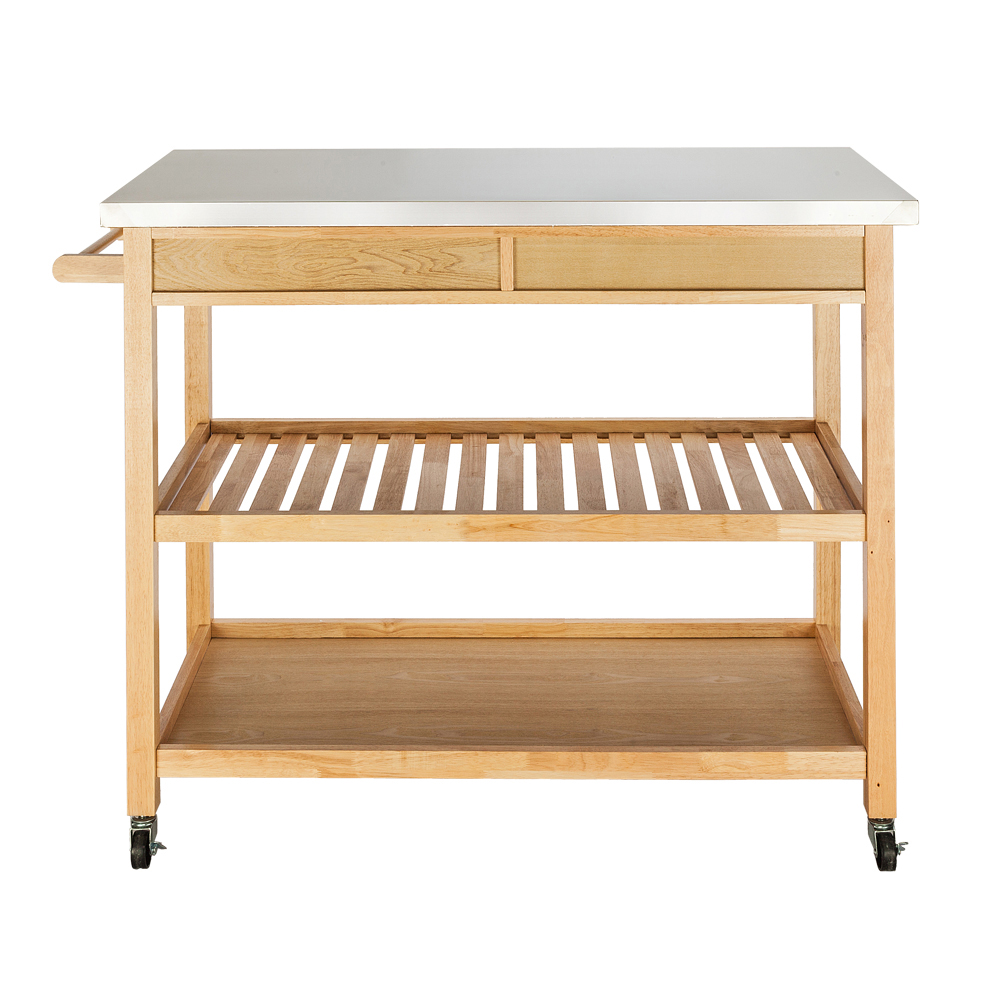 moveable kitchen cart with stainless steel table top  two