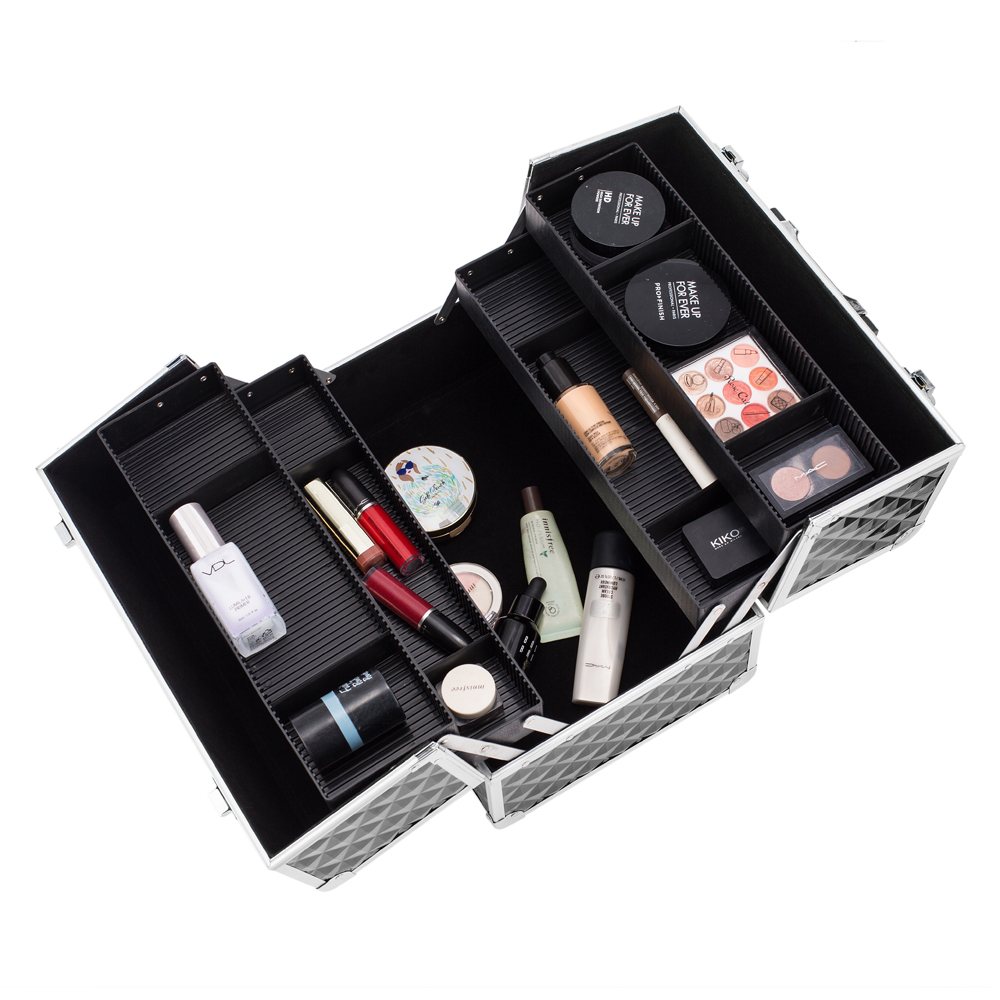 135 Makeup Train Case Professional Cosmetic Box With Adjustable