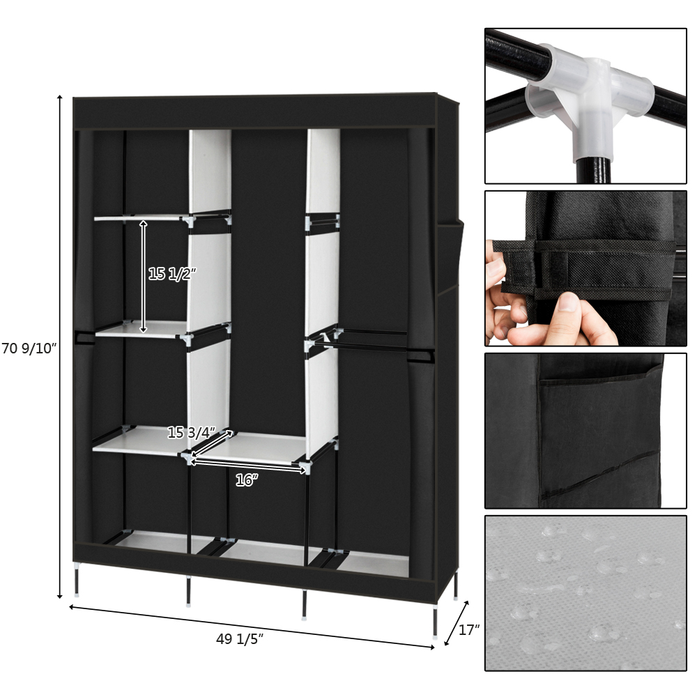 "71"" Portable Closet Wardrobe Clothes Rack Storage ..."