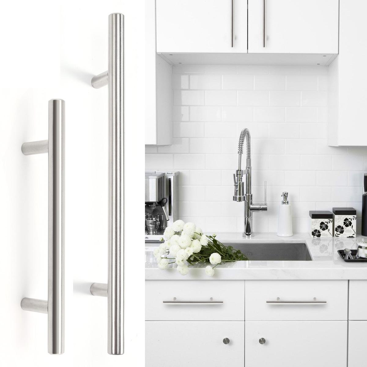 20 10 x poign e barre en t inox vis pour porte de meuble tiroir cuisine chambre ebay. Black Bedroom Furniture Sets. Home Design Ideas