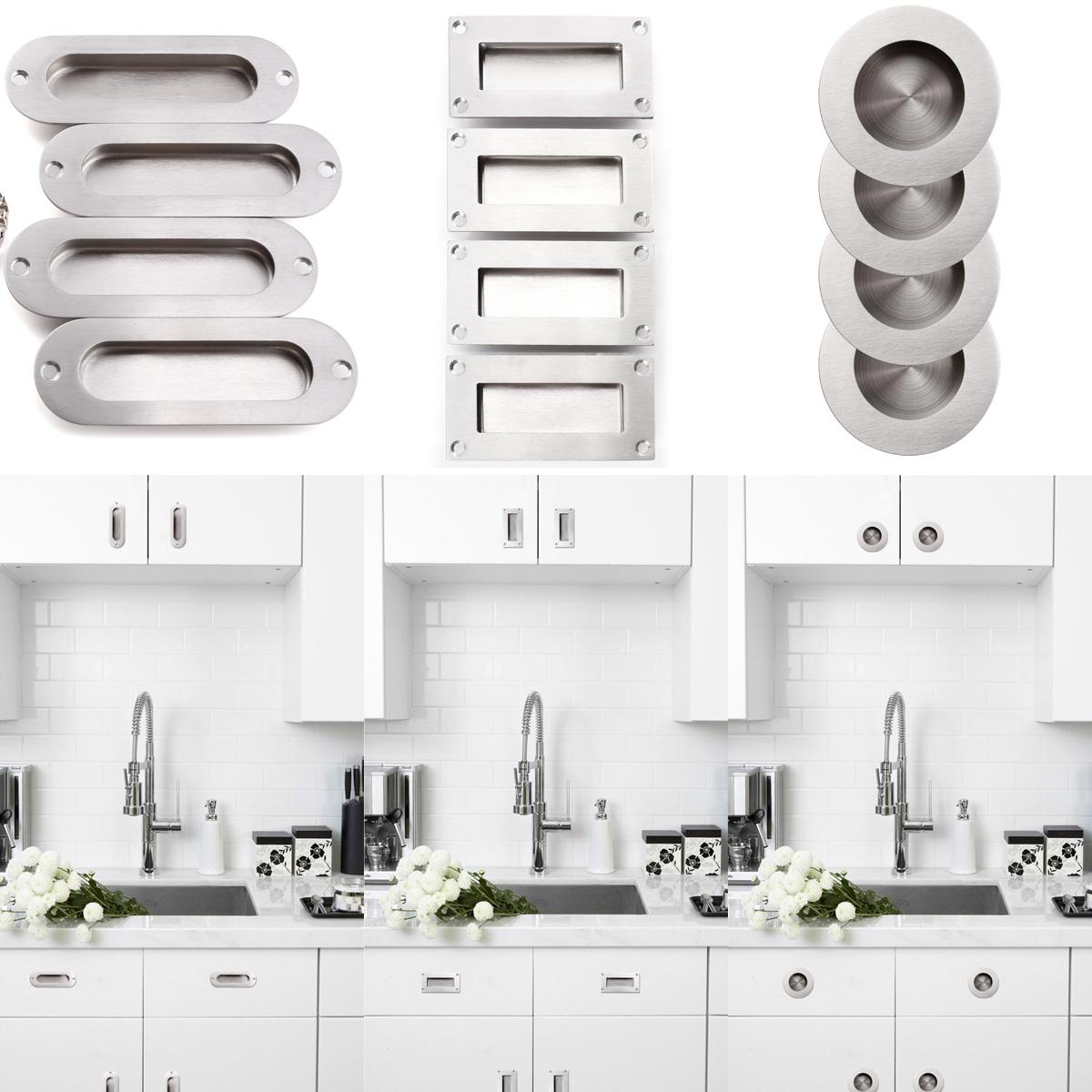 4x Recessed Flush Pull Kitchen Drawer Cabinet Door Cupboard Finger