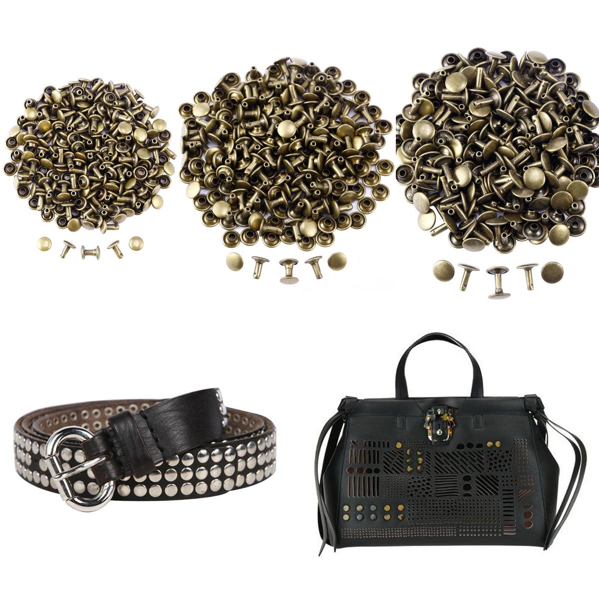 Double Cap Tubular Rivets DIY Dog Collar Bracelet Leather Belt Sew Studs Tool
