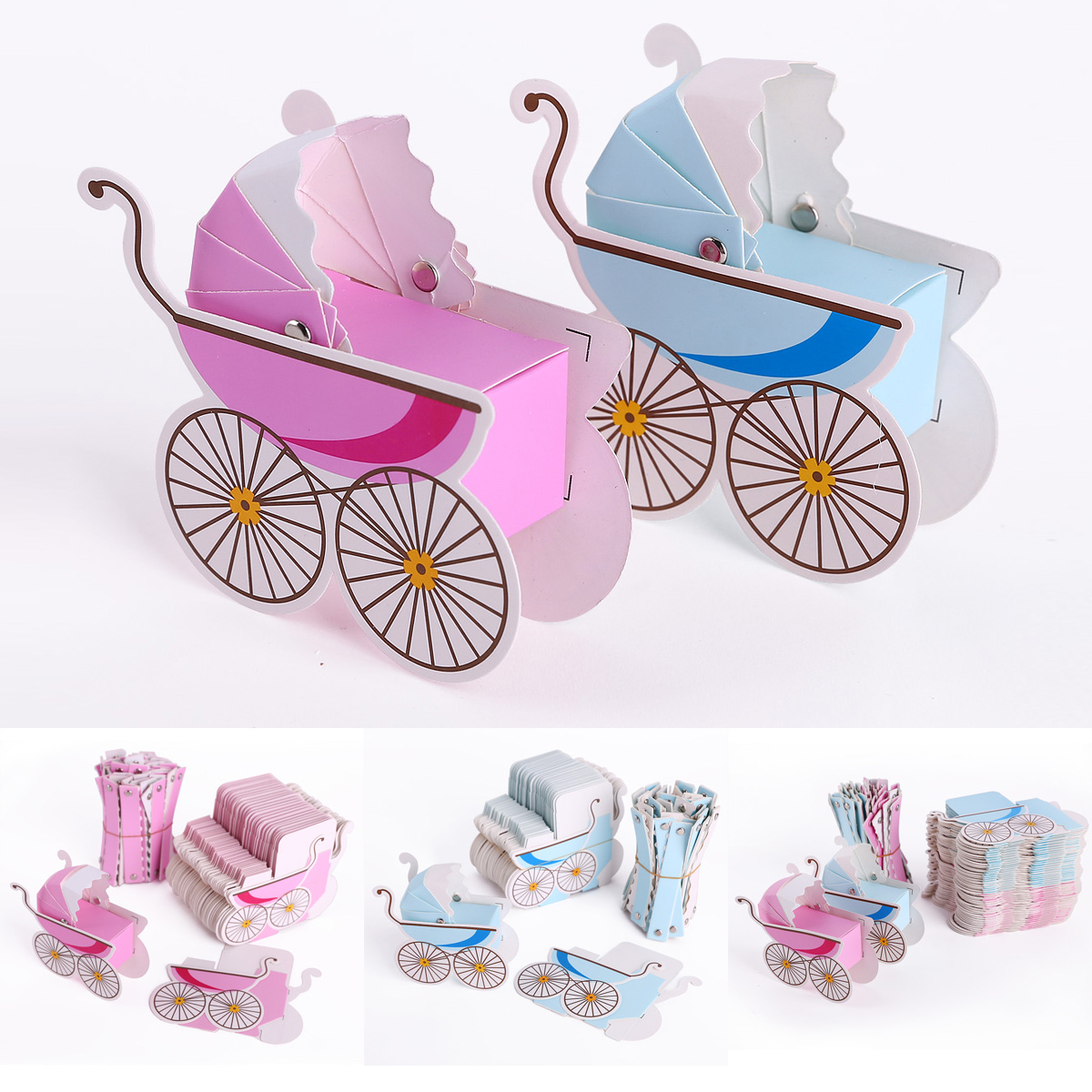 50x Laser Cut Baby Carriage Stroller Favor Gift Wrap Boxes Shower ...