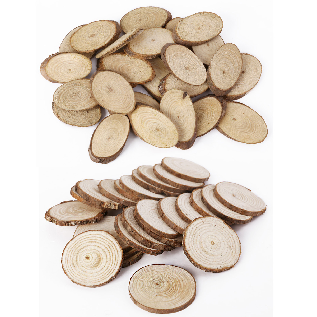 Wooden wood log slices natural tree bark decorative disc for Wood trunk slices