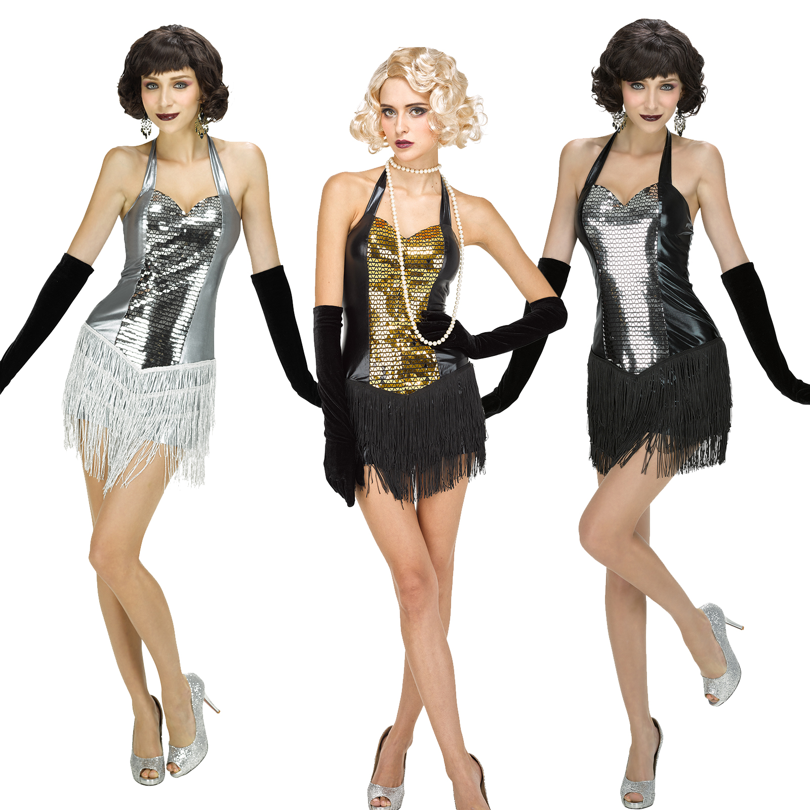 Damen Flapper Kleider Pailletten Retro V-Ausschnitt sexy Gatsby ...