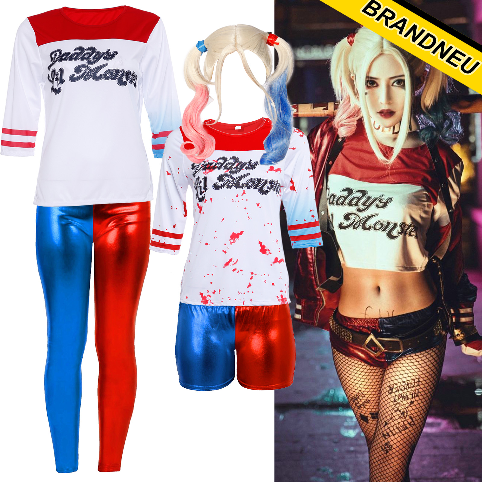 halloween cosplay t shirt hose pants kostum joker verkleidung weiss shirt