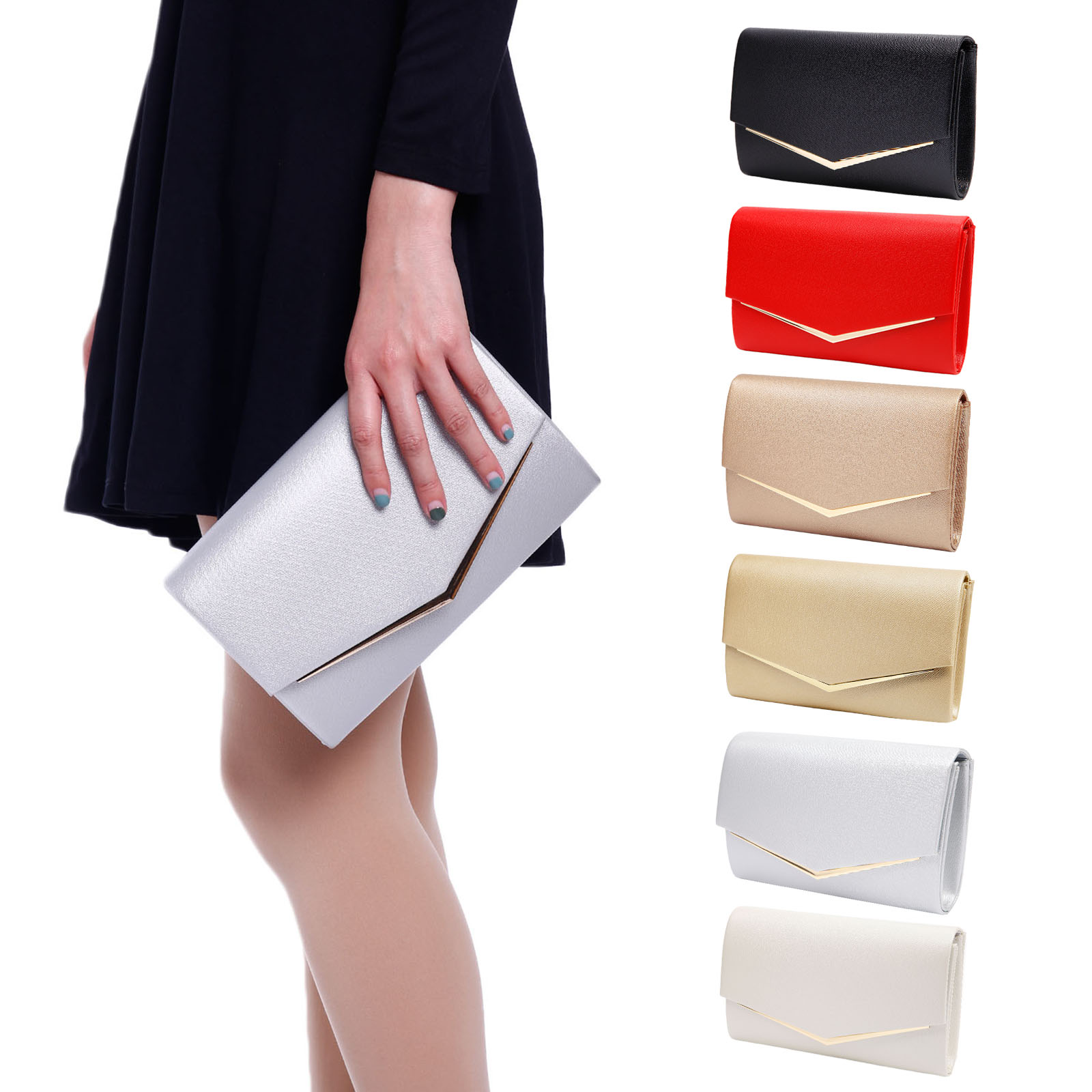 Women Paris Patent Leather Envelope Ladies Evening Party Prom Smart Clutch Bag