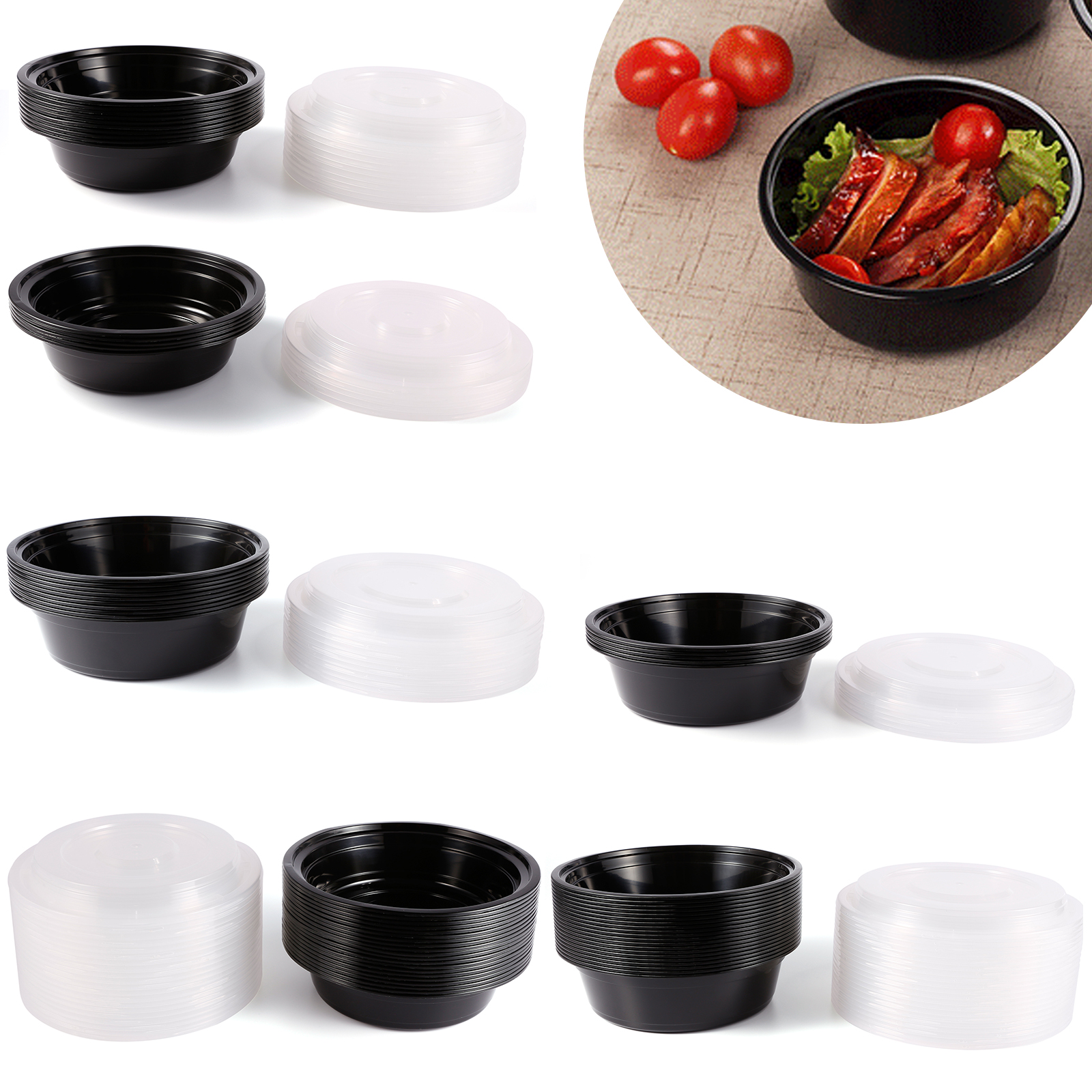 Plastic round food grade disposable containers take out
