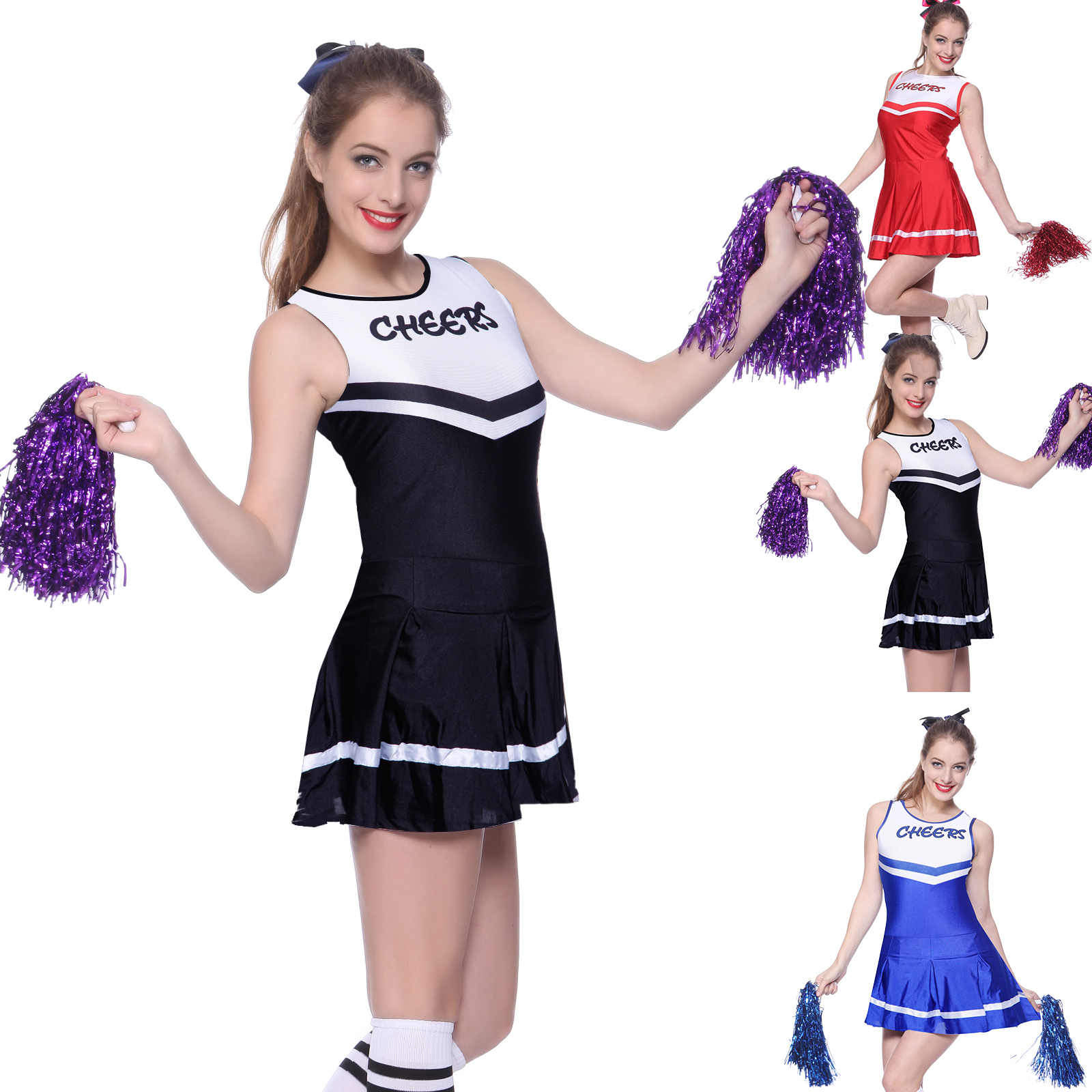 da52b47b317 Details about Ladies High School Cheer Girl Cheerleading Costume Fancy  Dress Outfit with Poms