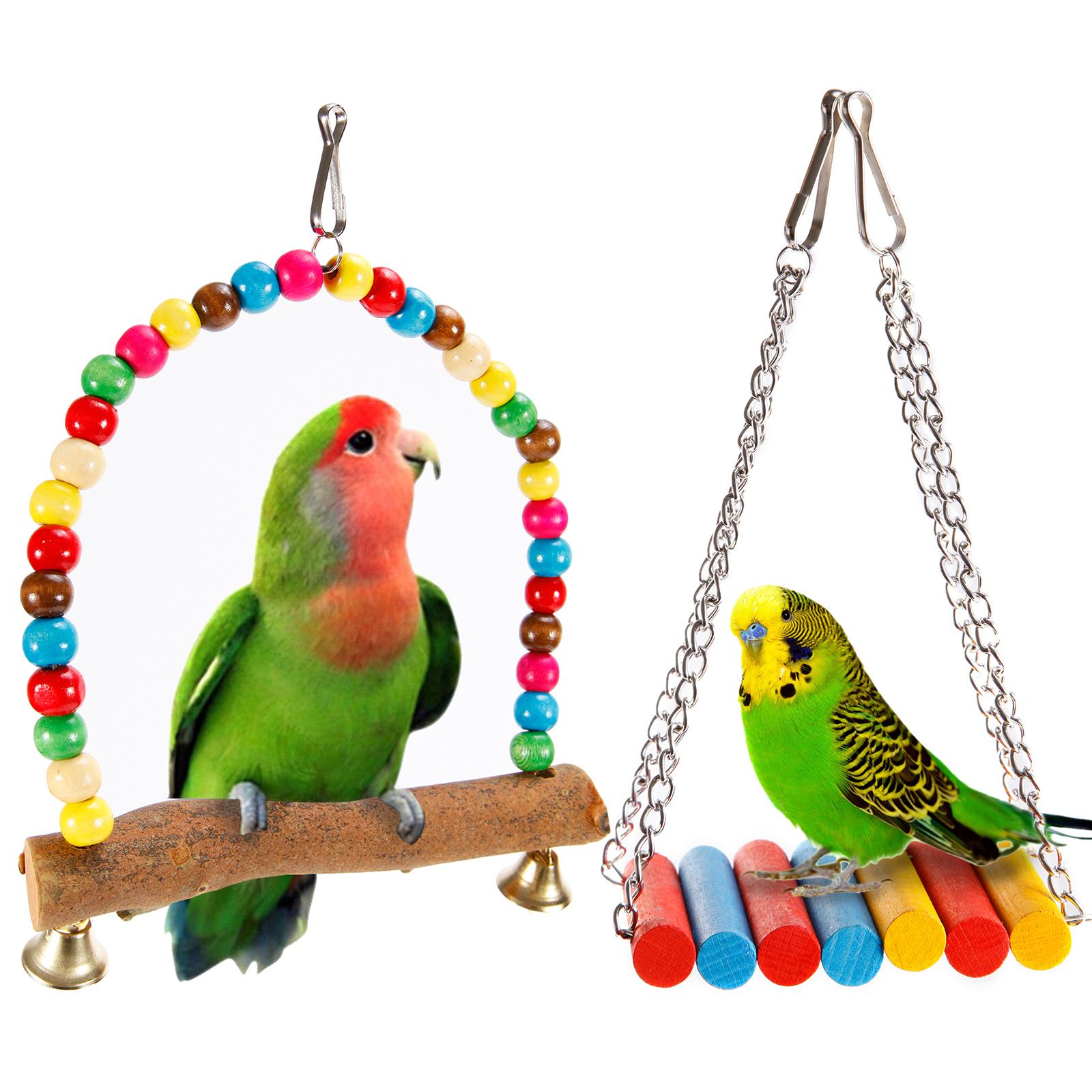 juguete de madera divertido columpio para loros p u00e1jaros