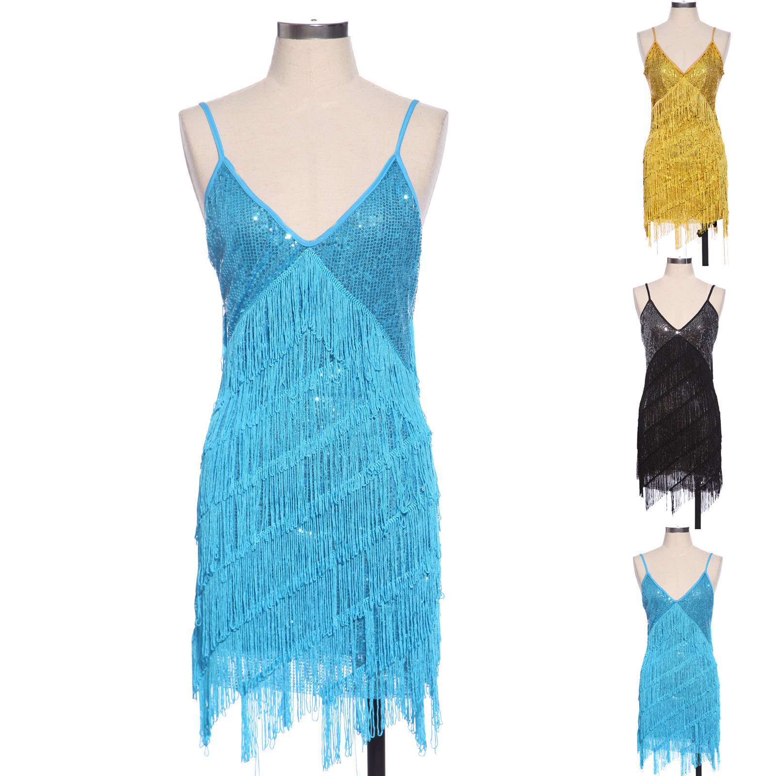Vintage 1920s Flapper Girl Sequin Fringed Costume Cocktail Party ...