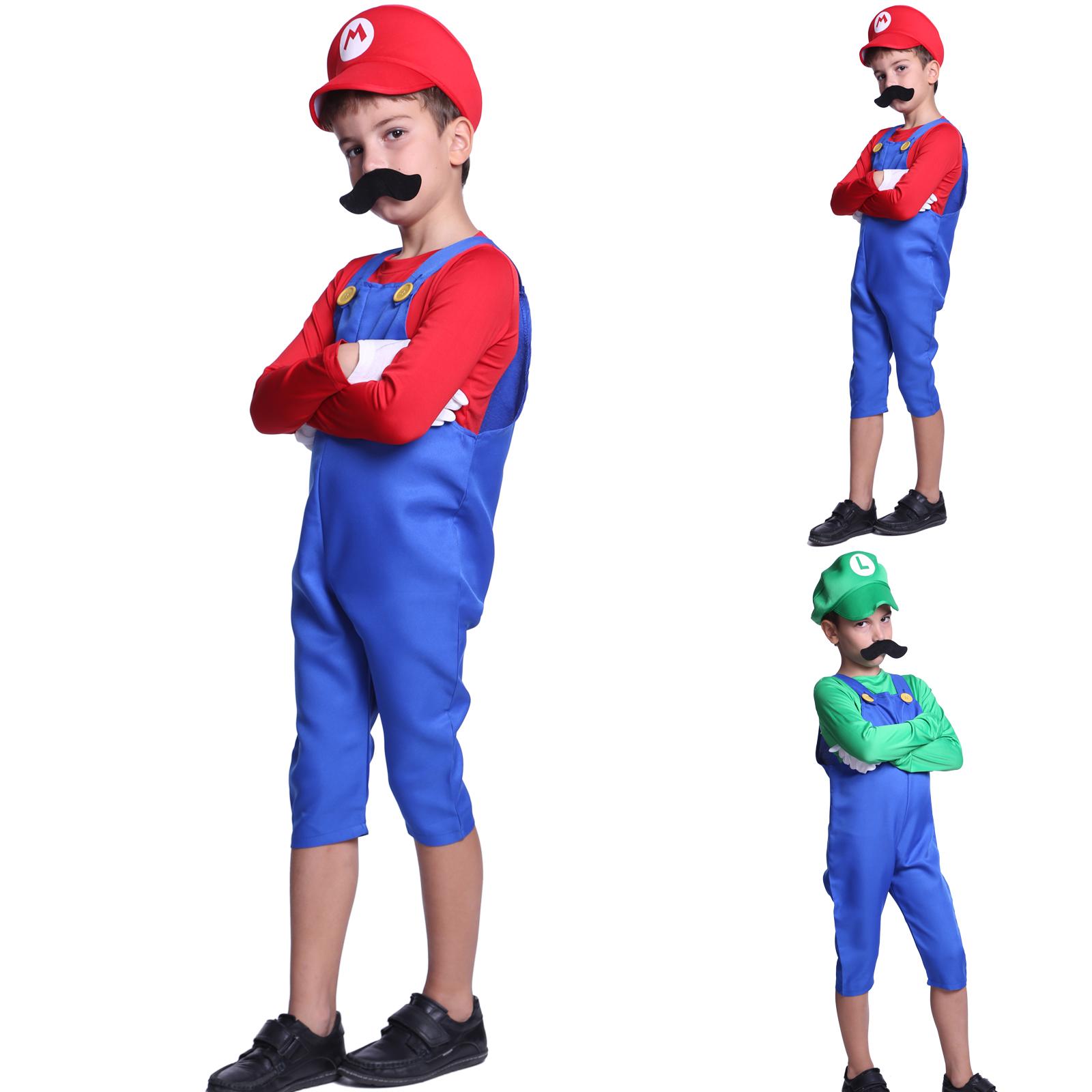 Super Mario Klempner Kostum Kinder Jungen Madchen Fasching Karneval