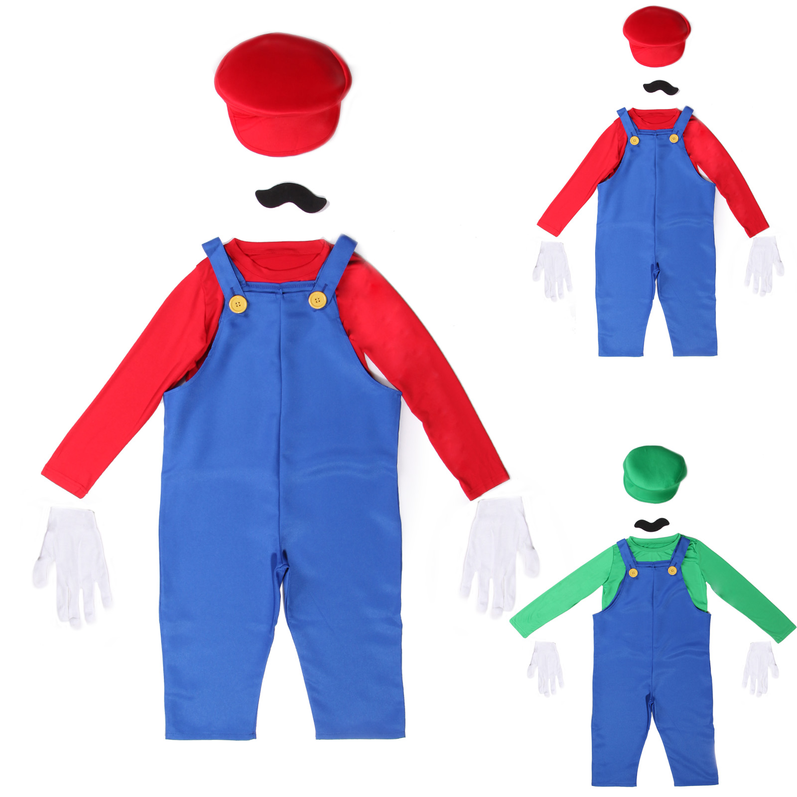 kinder jungen super mario bros luigi klempner kost m karneval fasching ebay. Black Bedroom Furniture Sets. Home Design Ideas