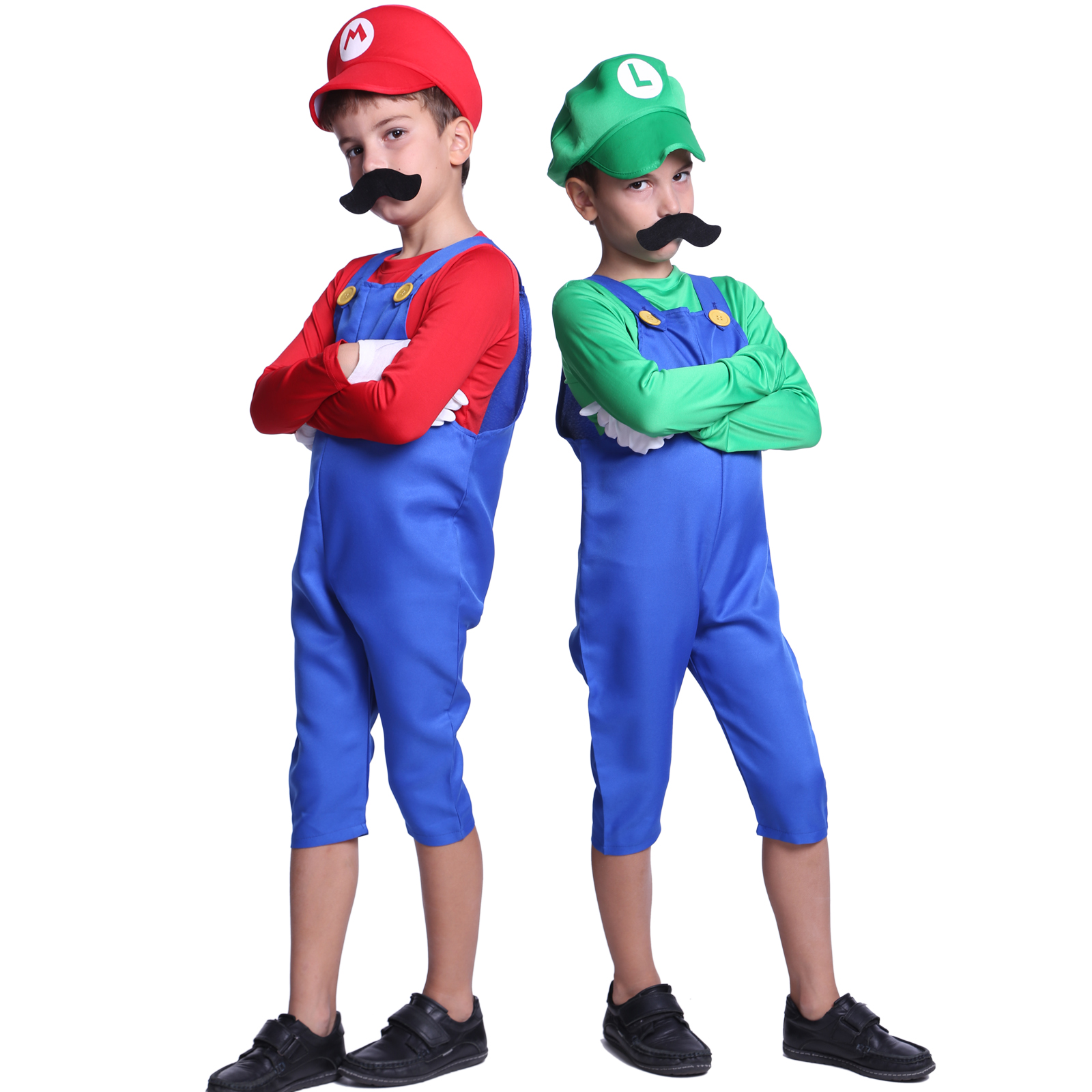 Boys Super Mario Luigi Bros Cosplay Costume Plumber Workman